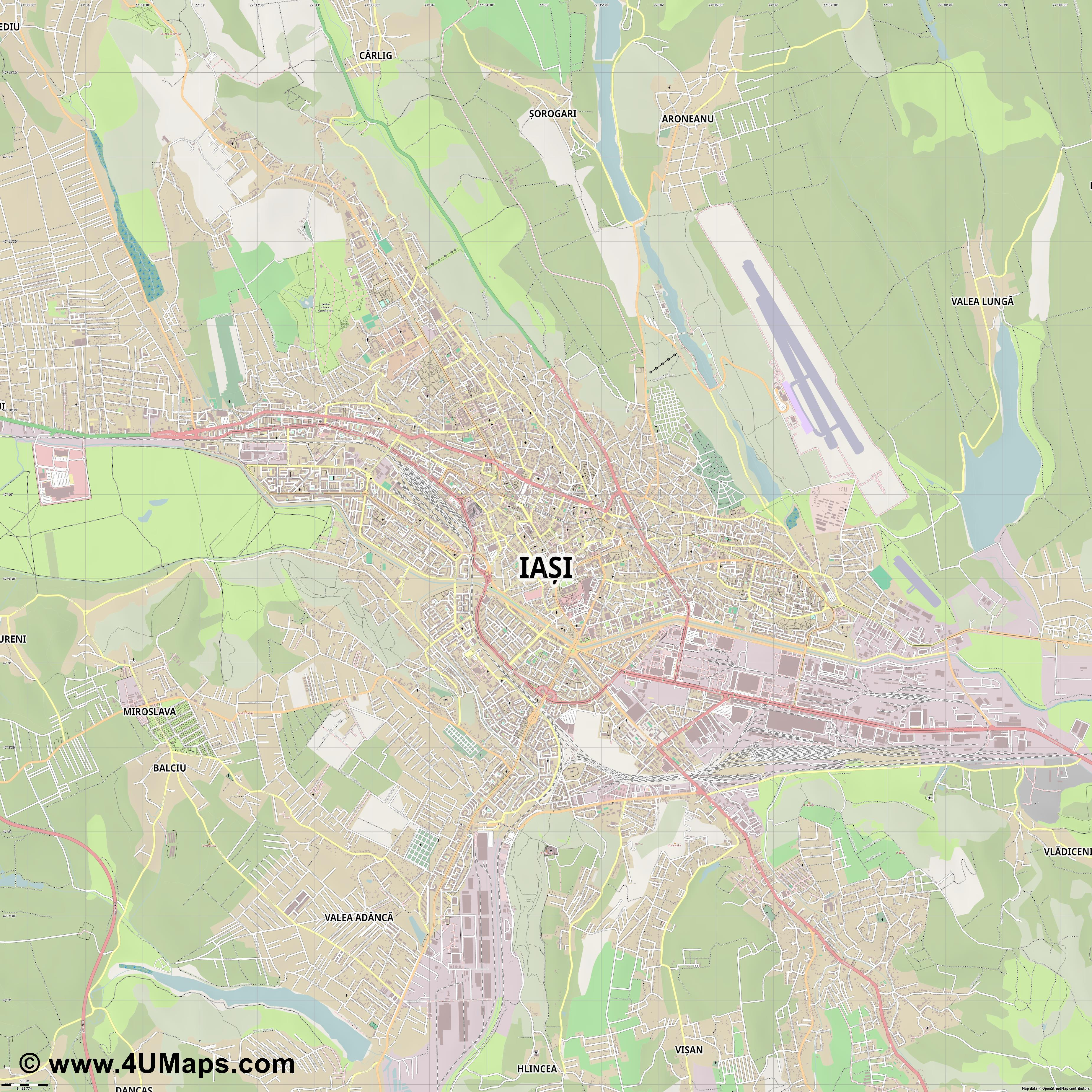 Iași Iasi  jpg ultra high detail preview vector city map