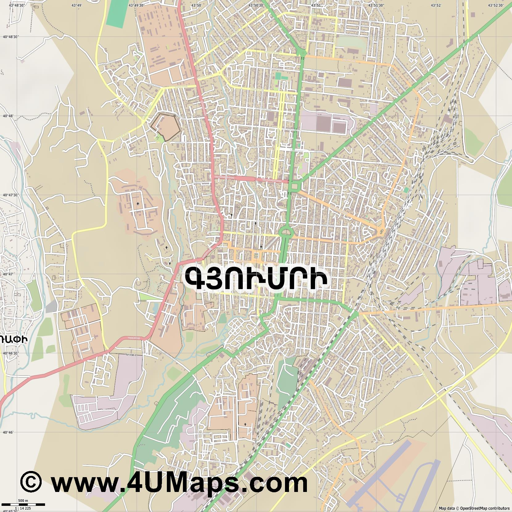 Գյումրի Gyumri Gjumri  jpg ultra high detail preview vector city map