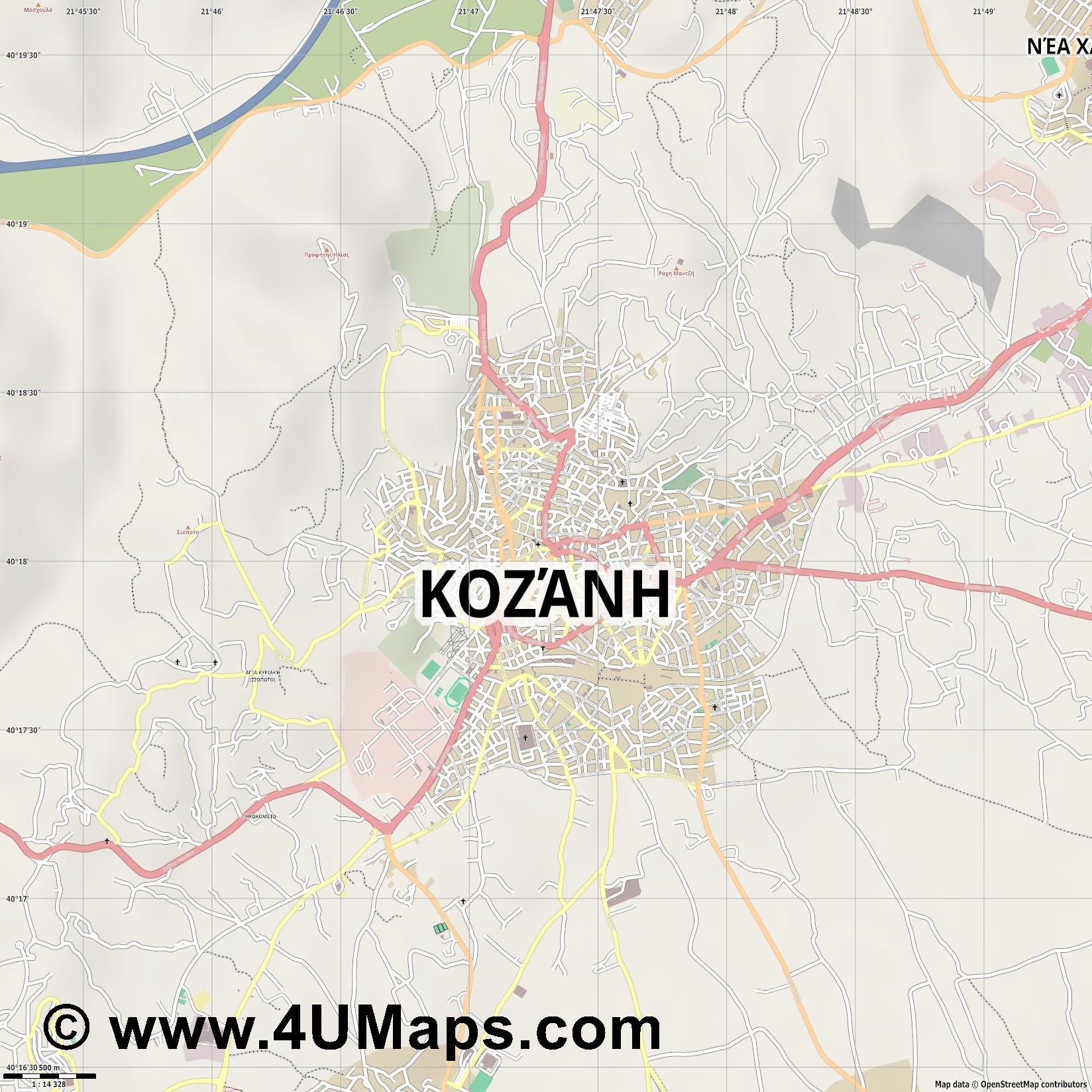 Κοζάνη Kozani  jpg ultra high detail preview vector city map