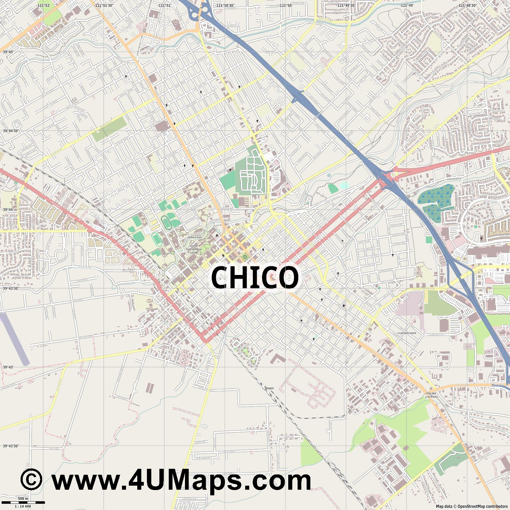 Chico  jpg ultra high detail preview vector city map
