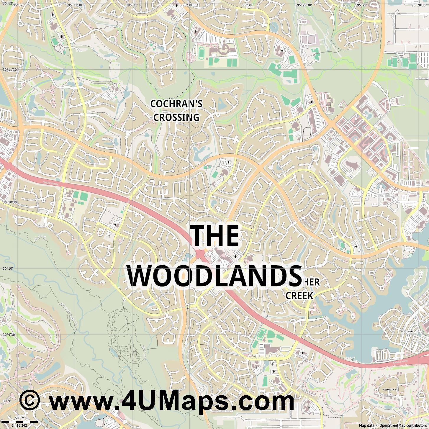 The Woodlands  jpg ultra high detail preview vector city map