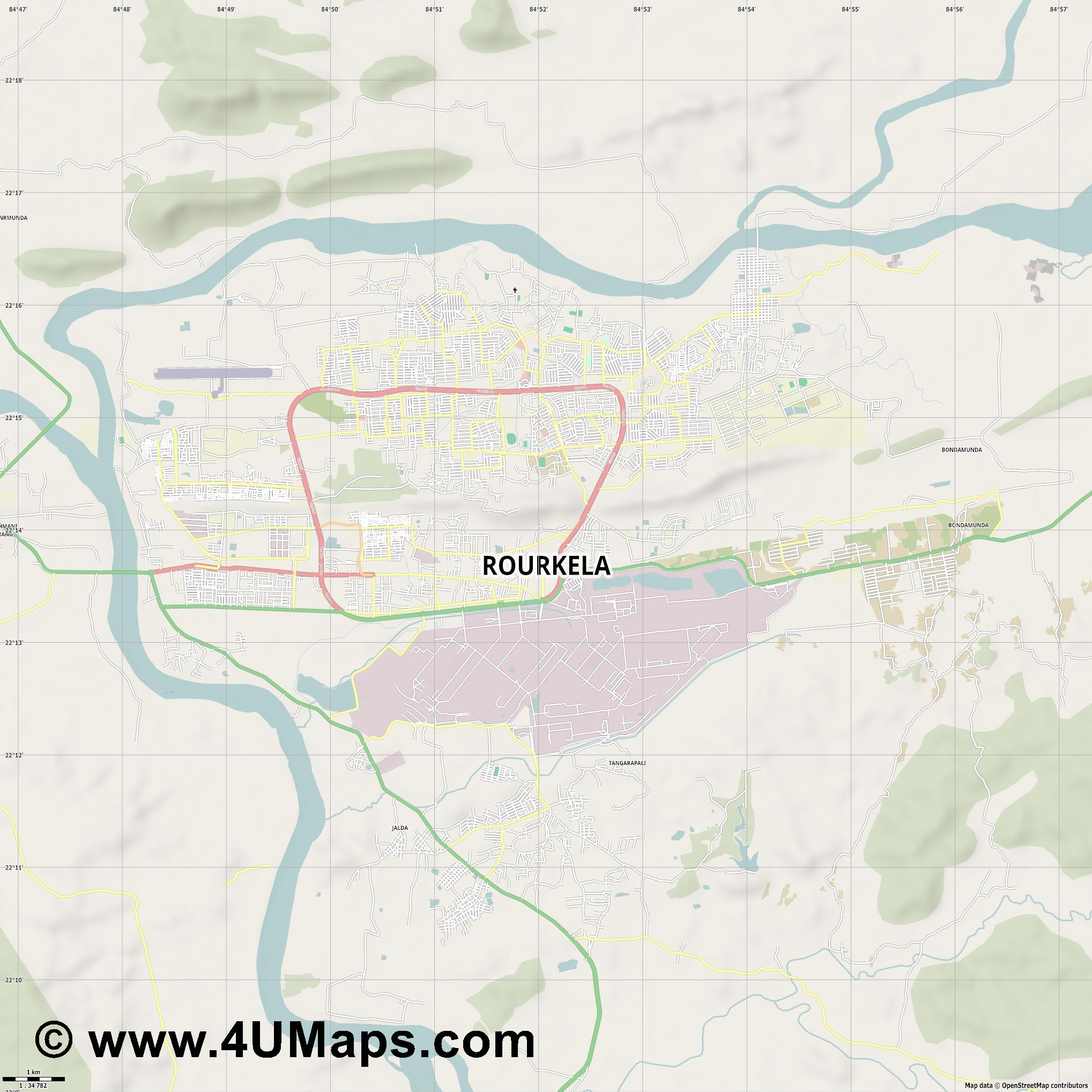 Rourkela  jpg high detail, large area preview vector city map