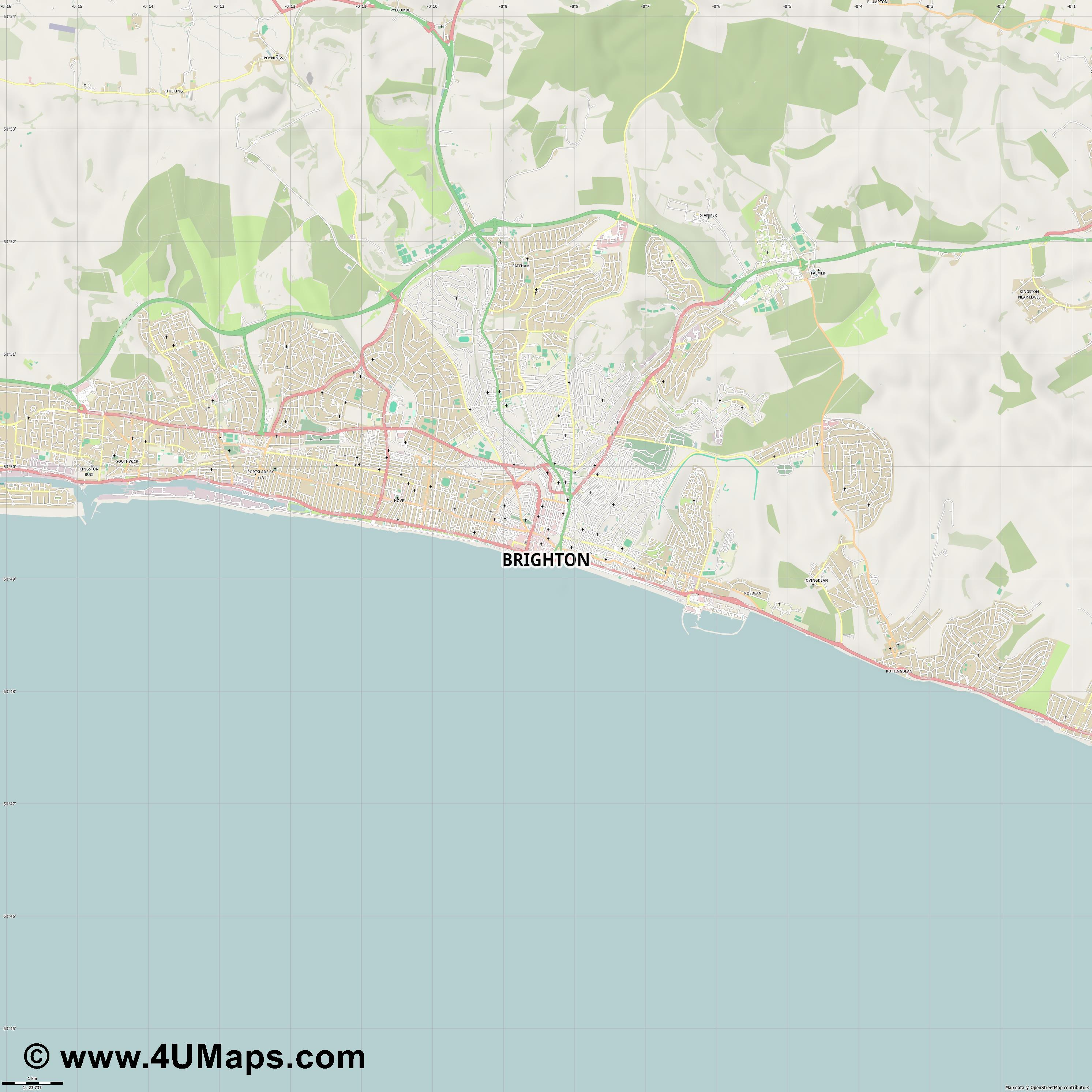 Brighton  jpg high detail, large area preview vector city map