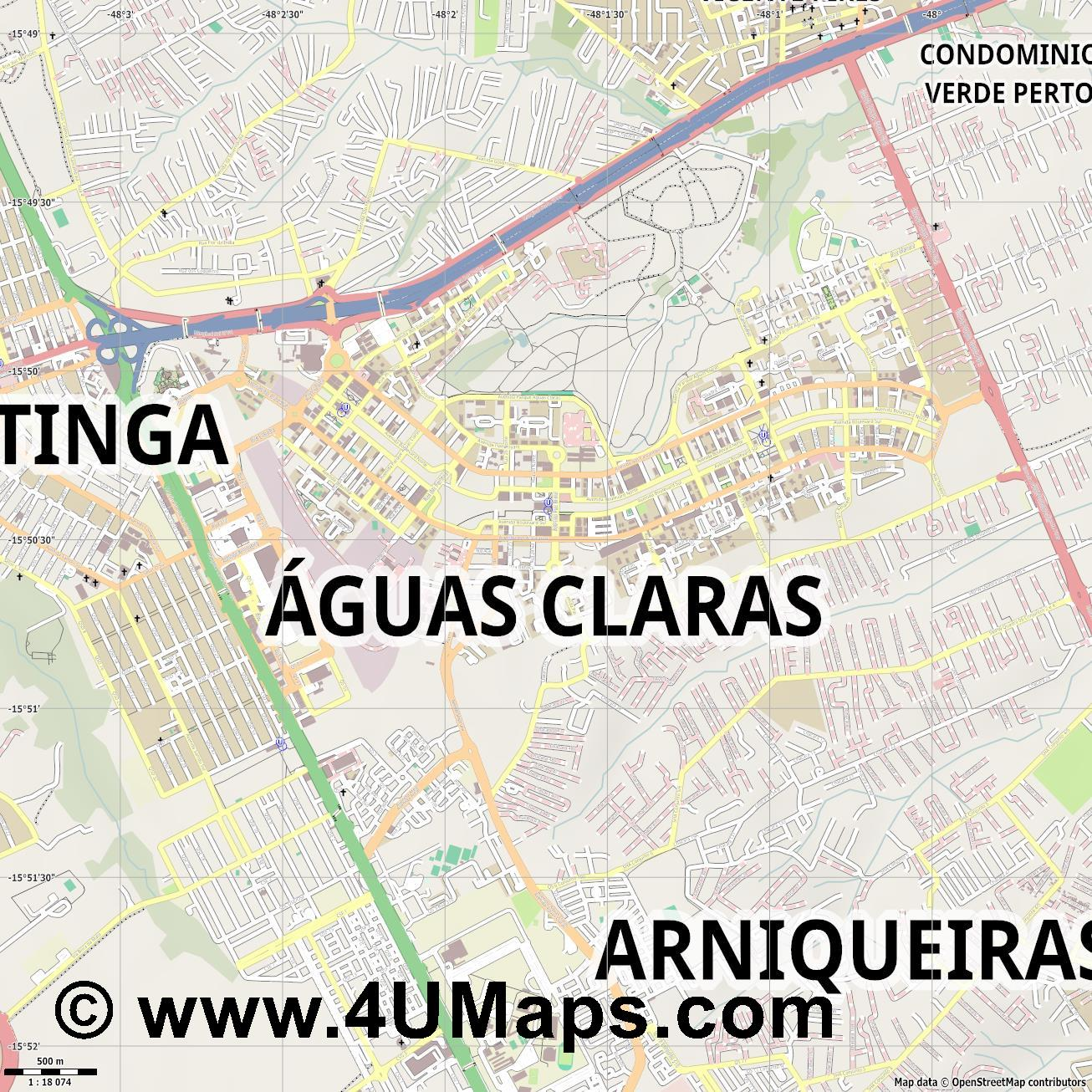 Águas Claras  jpg ultra high detail preview vector city map