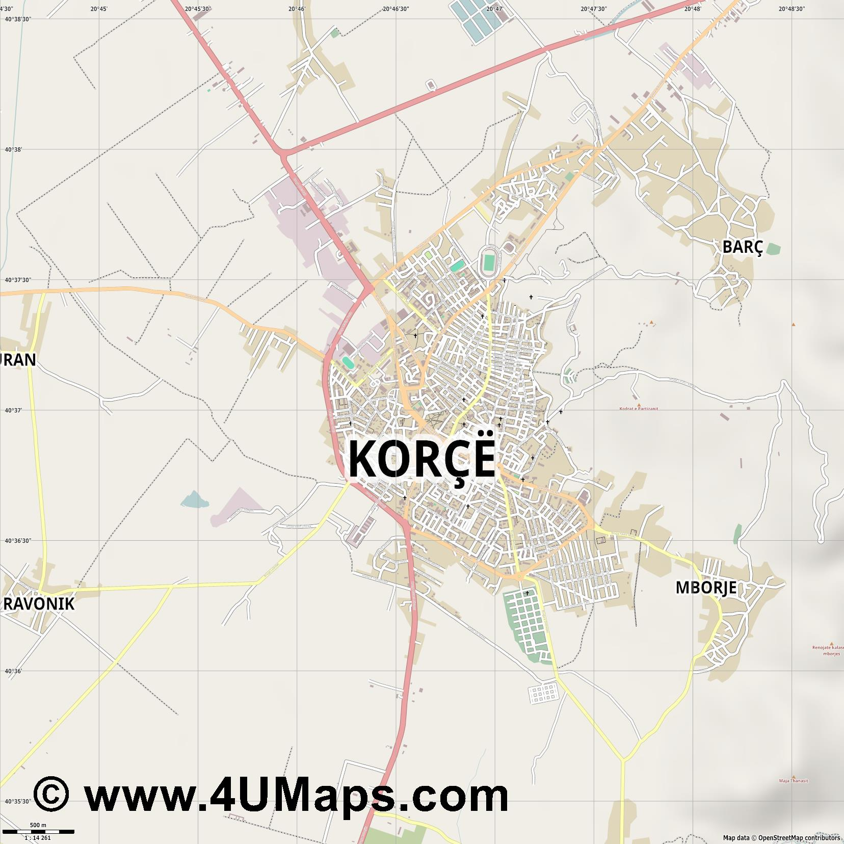 Korçë Coriza  jpg ultra high detail preview vector city map