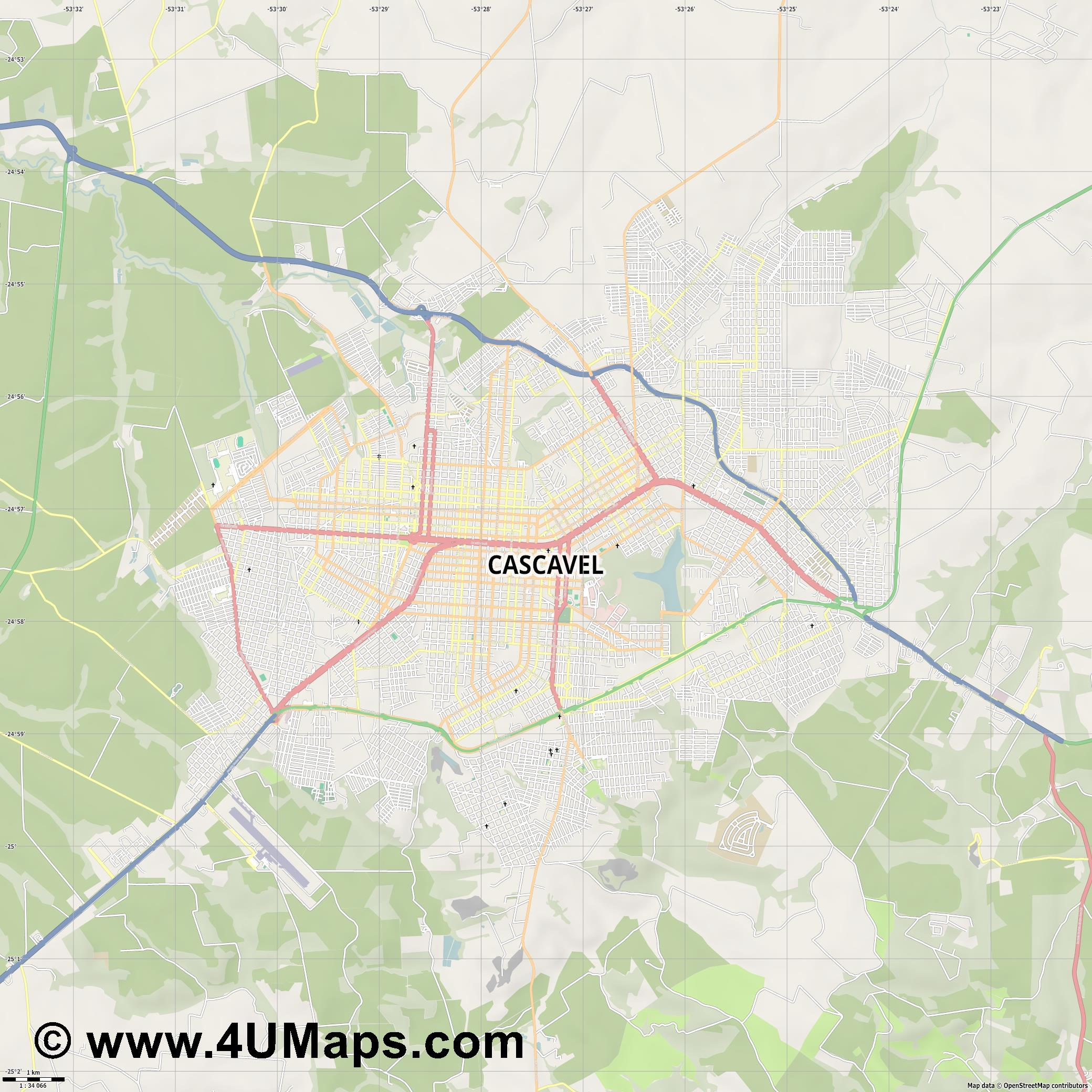 Cascavel  jpg high detail, large area preview vector city map