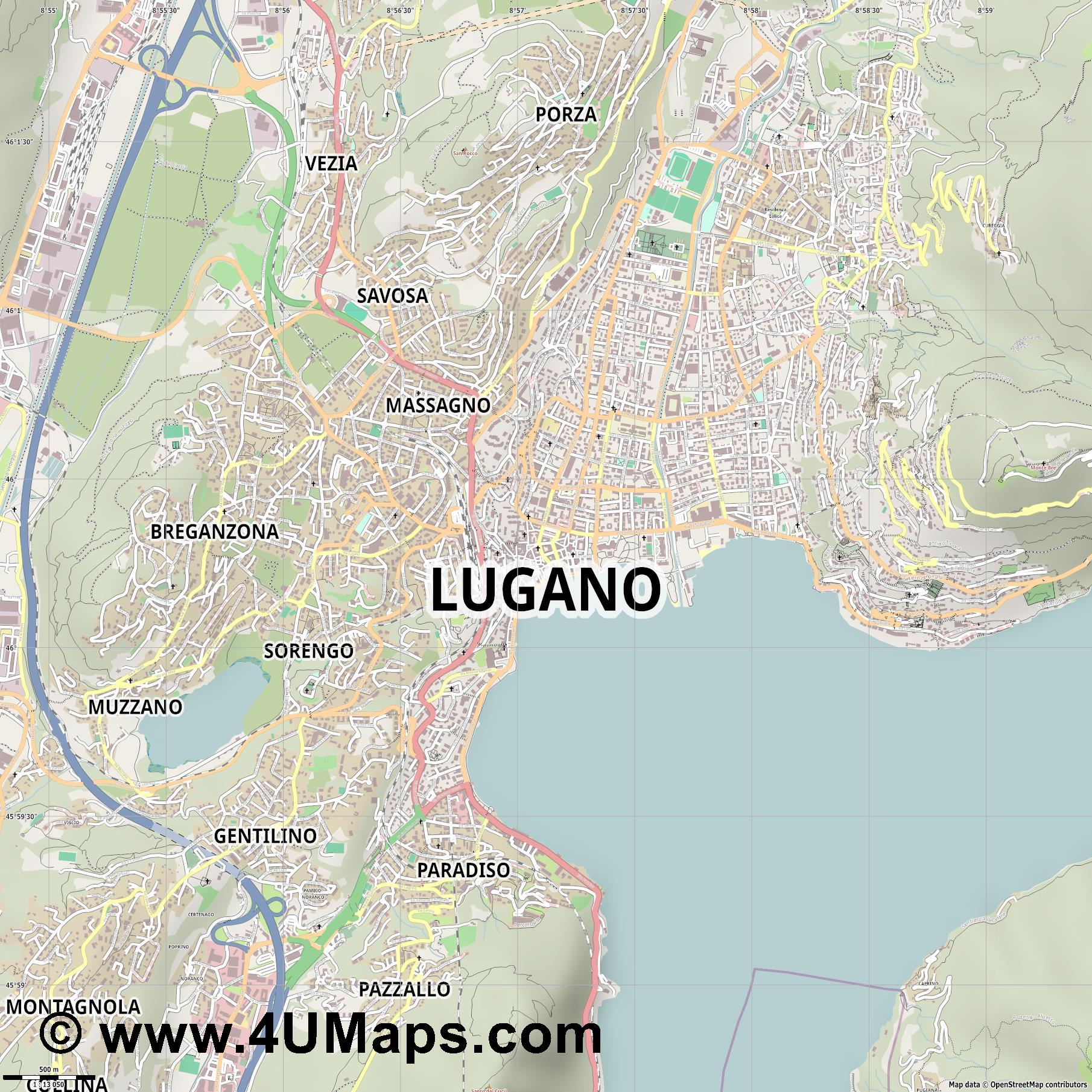 PDF, Svg Scalable Vector City Map Lugano