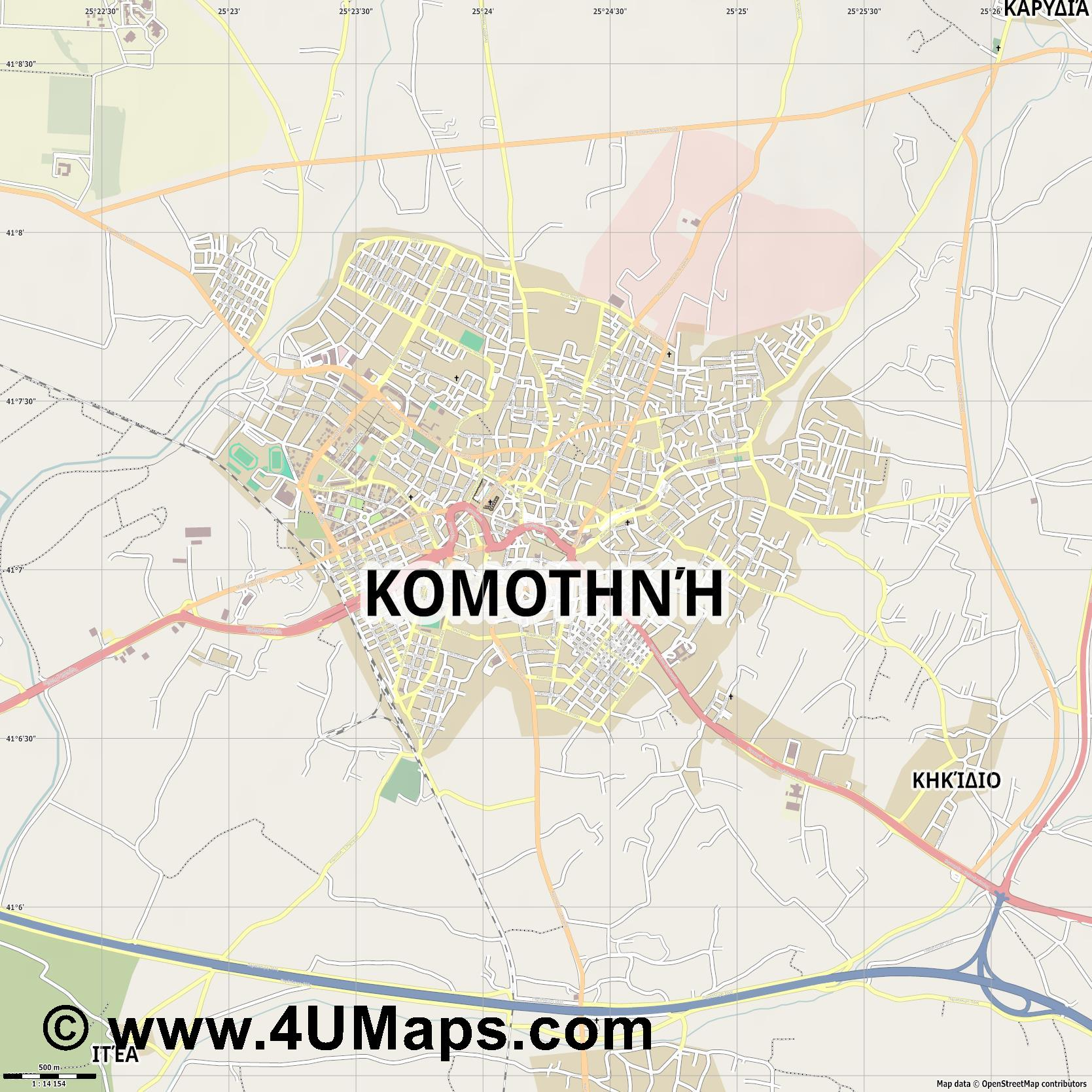 Κομοτηνή Komotini Komotiní  jpg ultra high detail preview vector city map