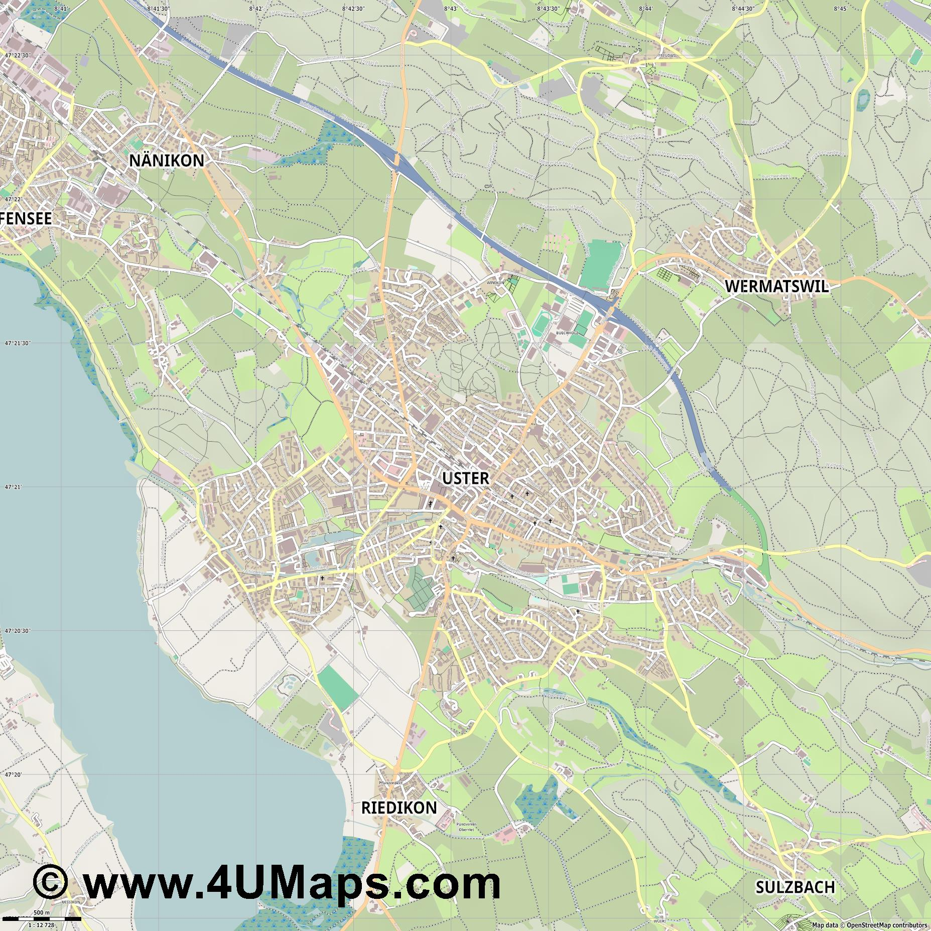 Uster  jpg ultra high detail preview vector city map