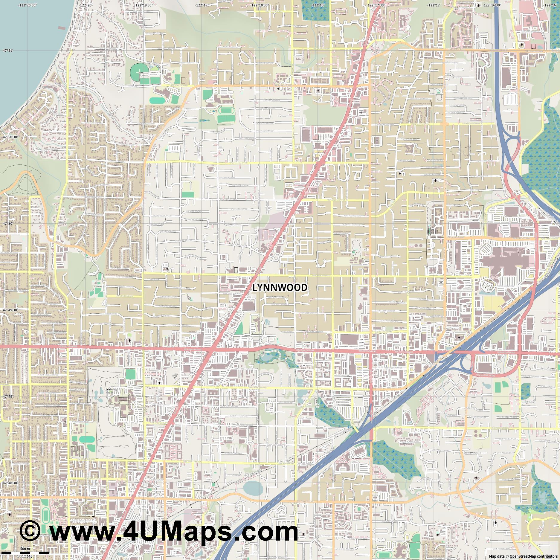 Lynnwood  jpg ultra high detail preview vector city map