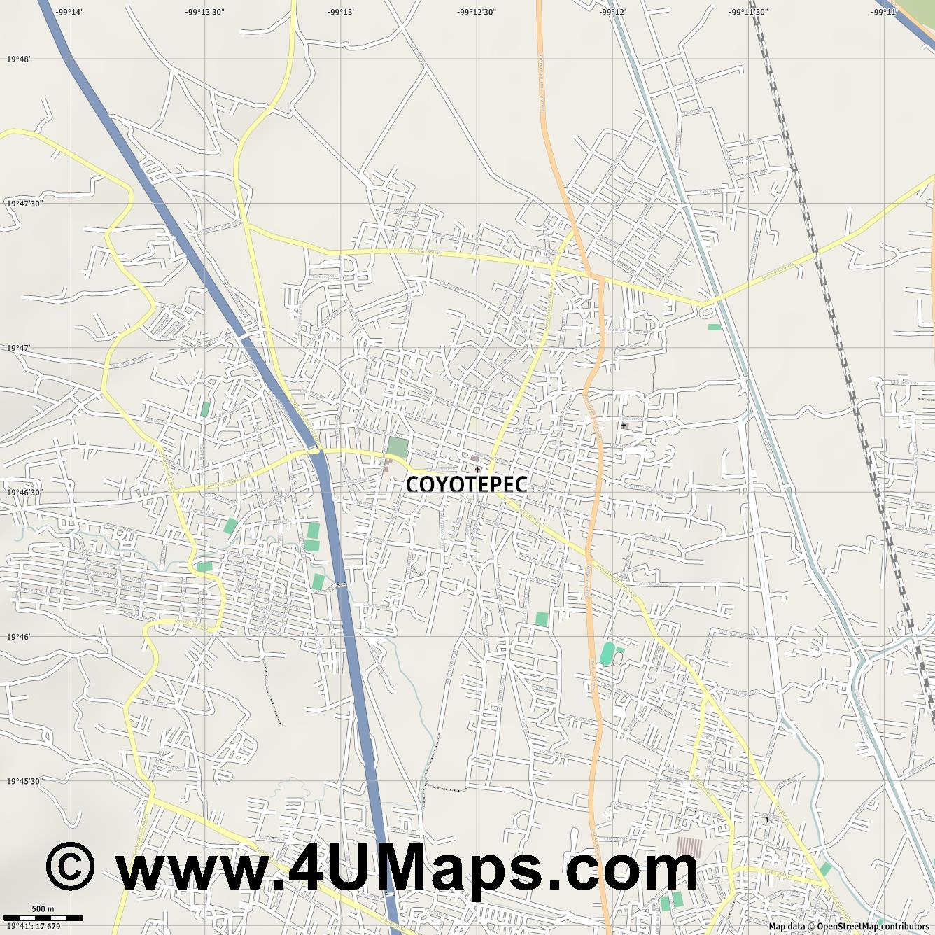 Coyotepec  jpg ultra high detail preview vector city map