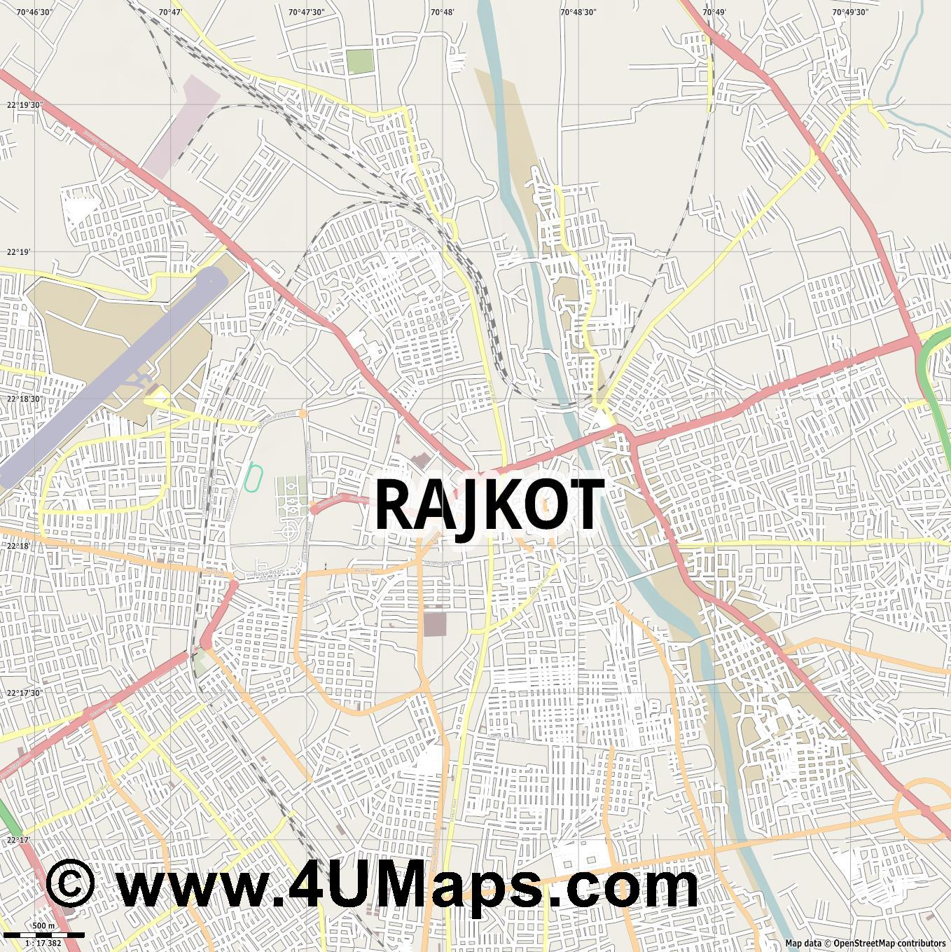 Rajkot  jpg ultra high detail preview vector city map