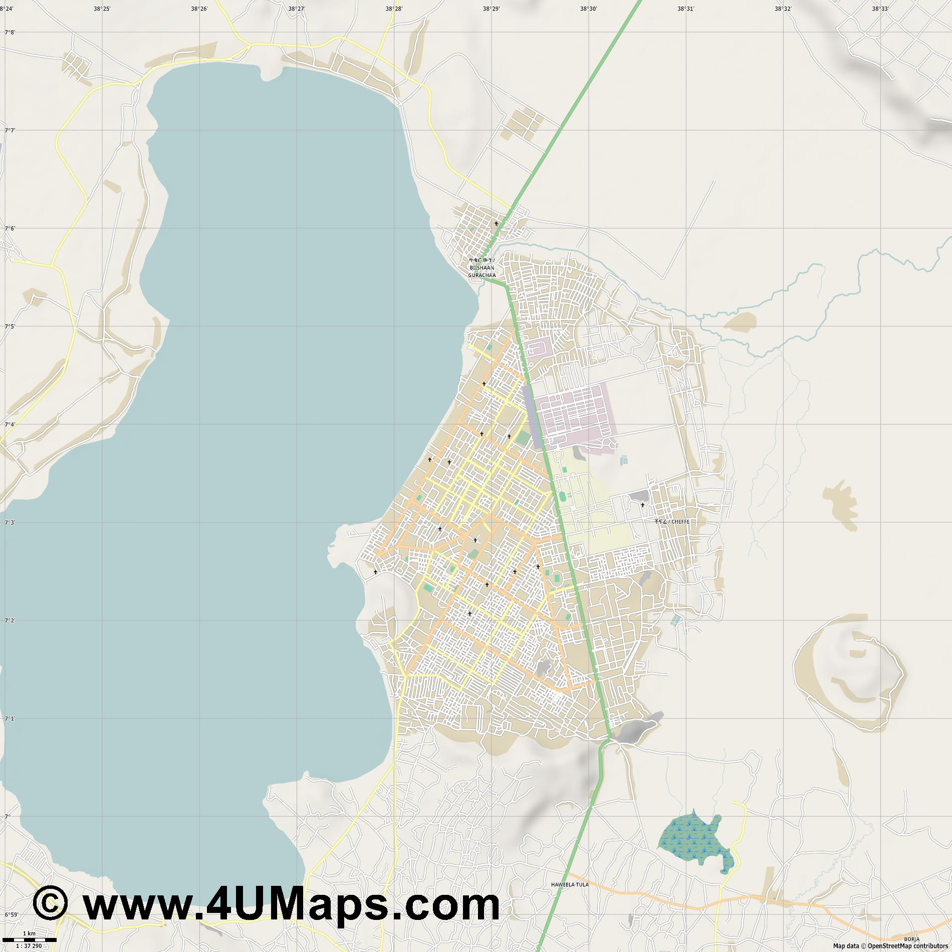Awassa  jpg high detail, large area preview vector city map