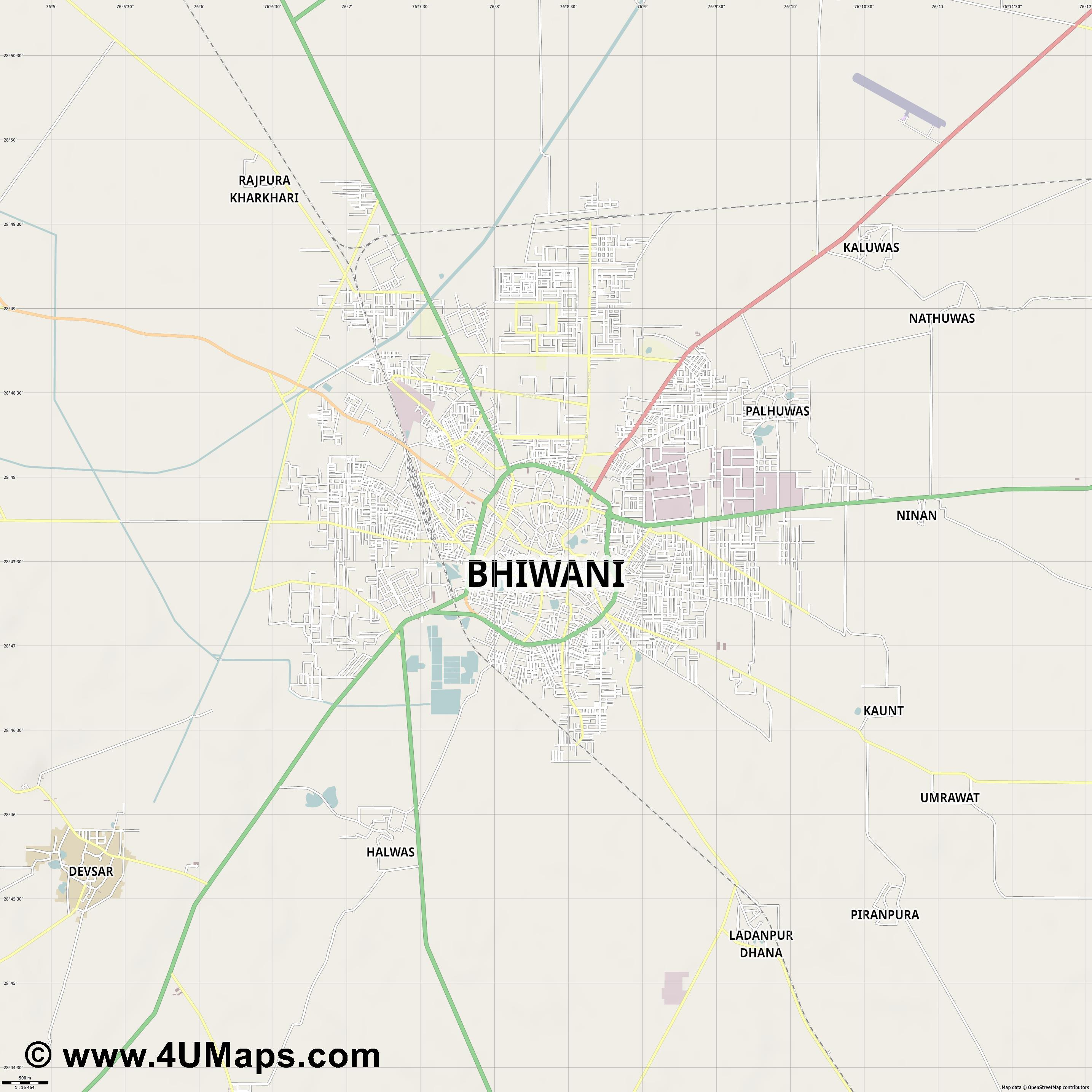 Bhiwani  jpg ultra high detail preview vector city map