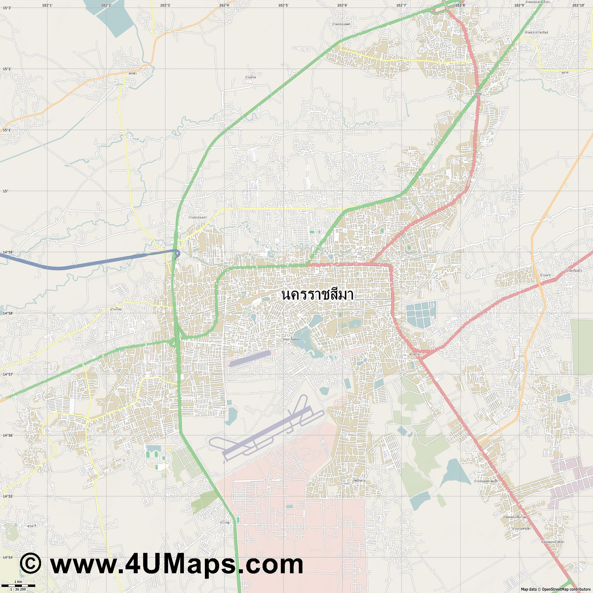 นครราชส มา Nakhon Ratchasima  jpg high detail, large area preview vector city map