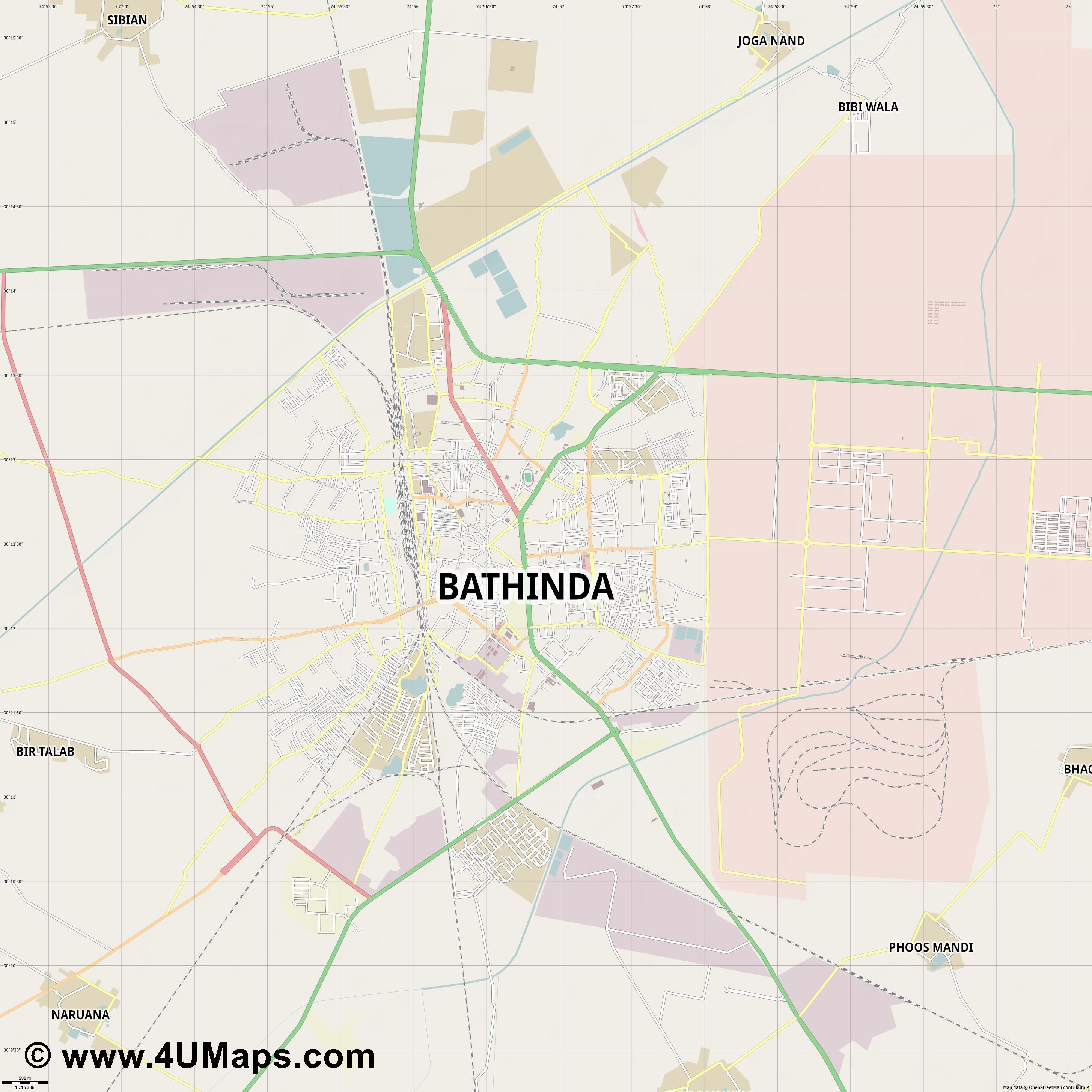 Bathinda  jpg ultra high detail preview vector city map