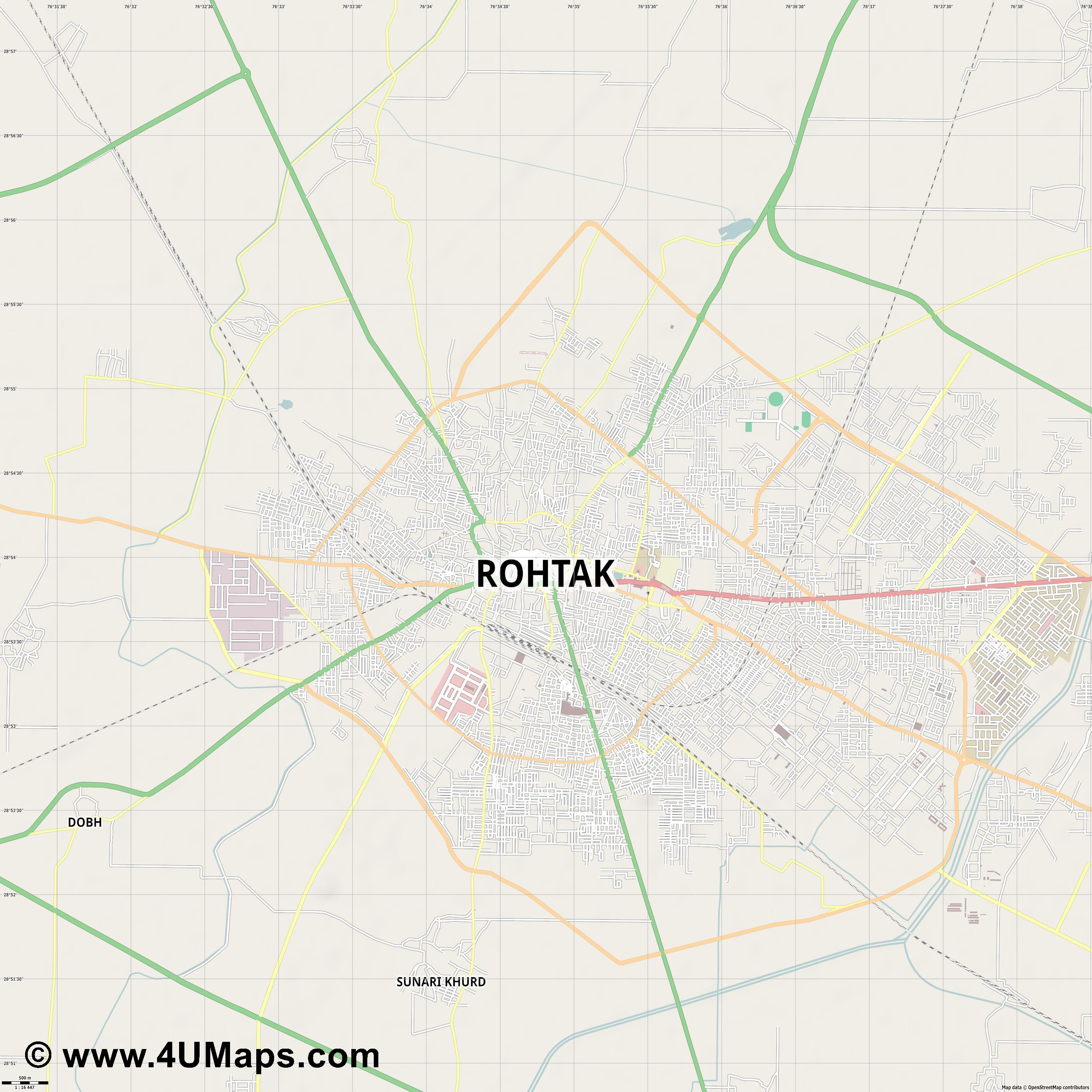 Rohtak  jpg ultra high detail preview vector city map