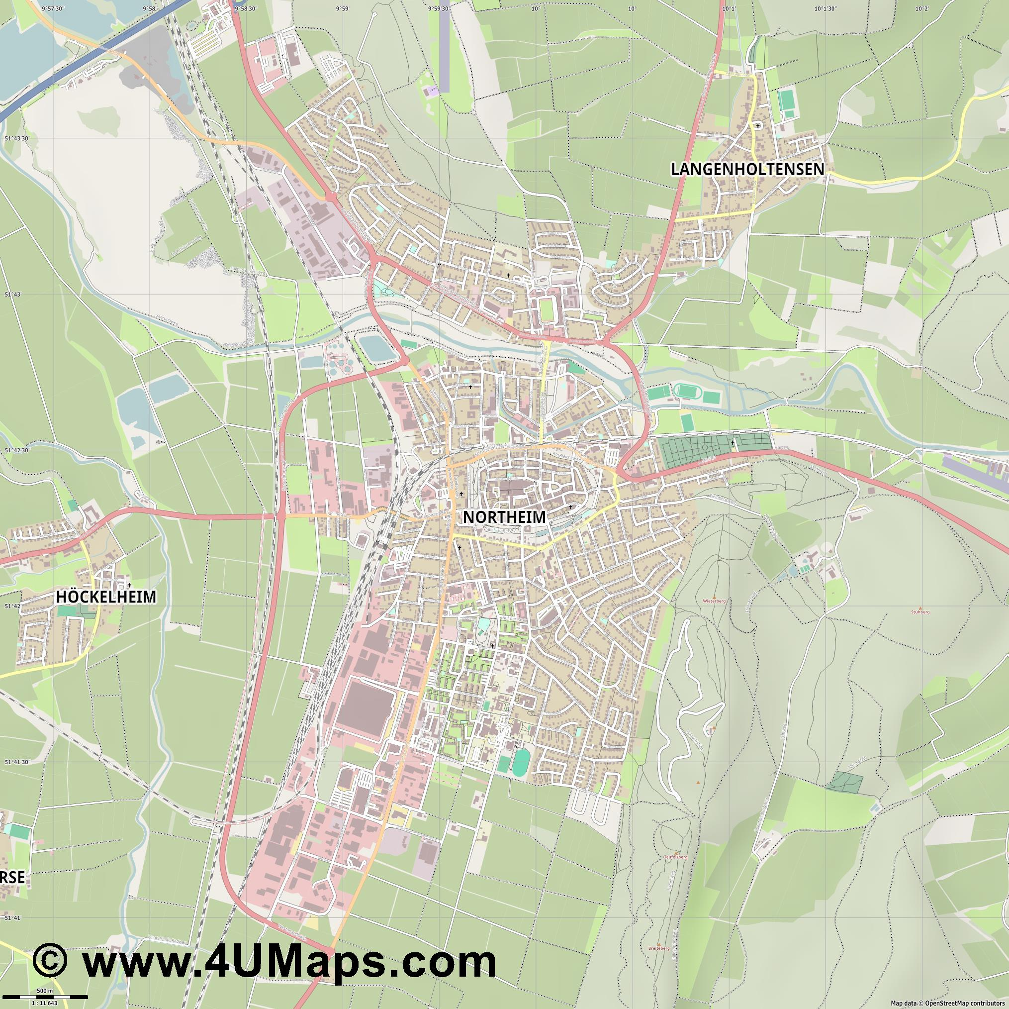 Northeim  jpg ultra high detail preview vector city map