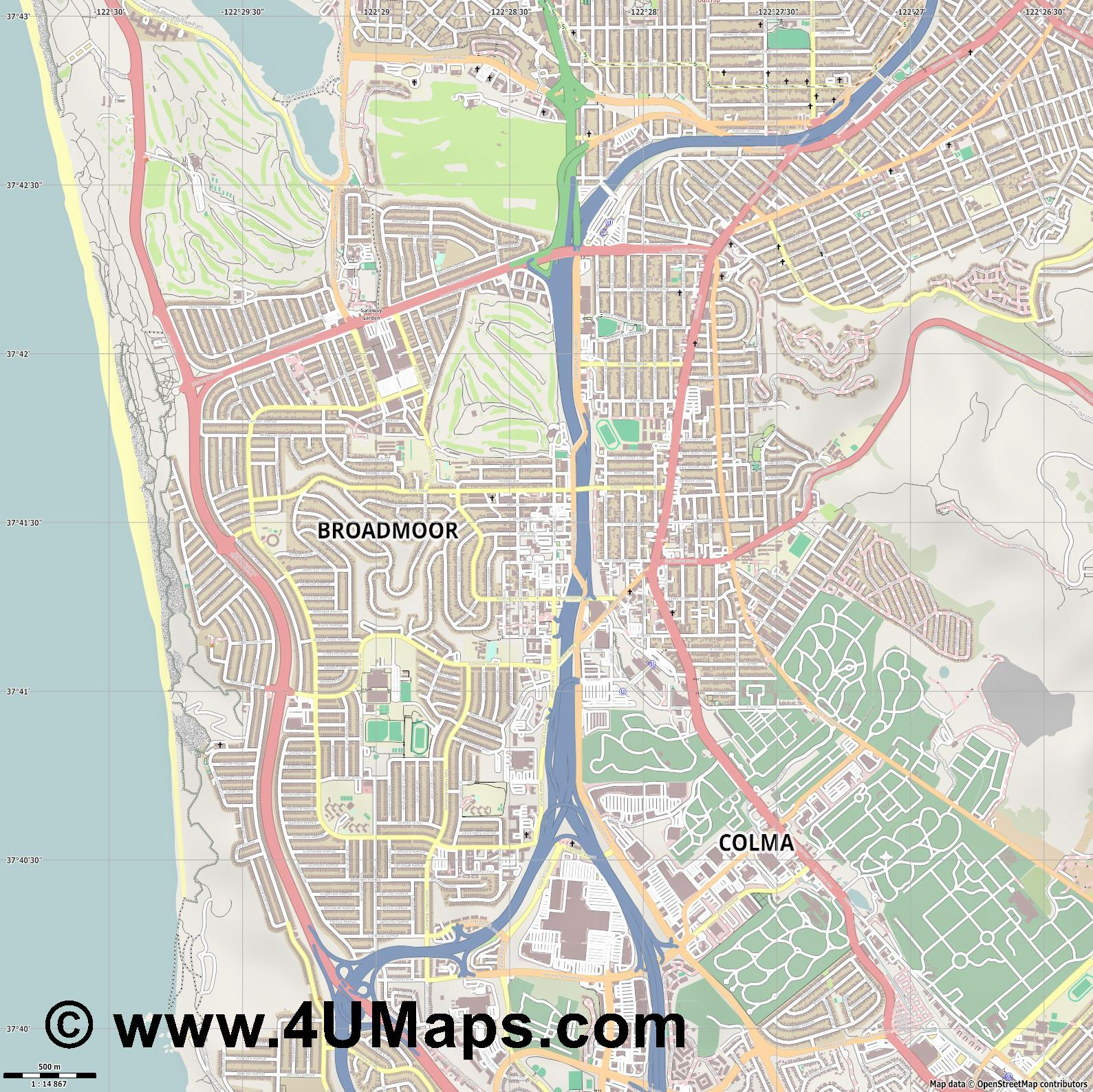 Daly City  jpg ultra high detail preview vector city map