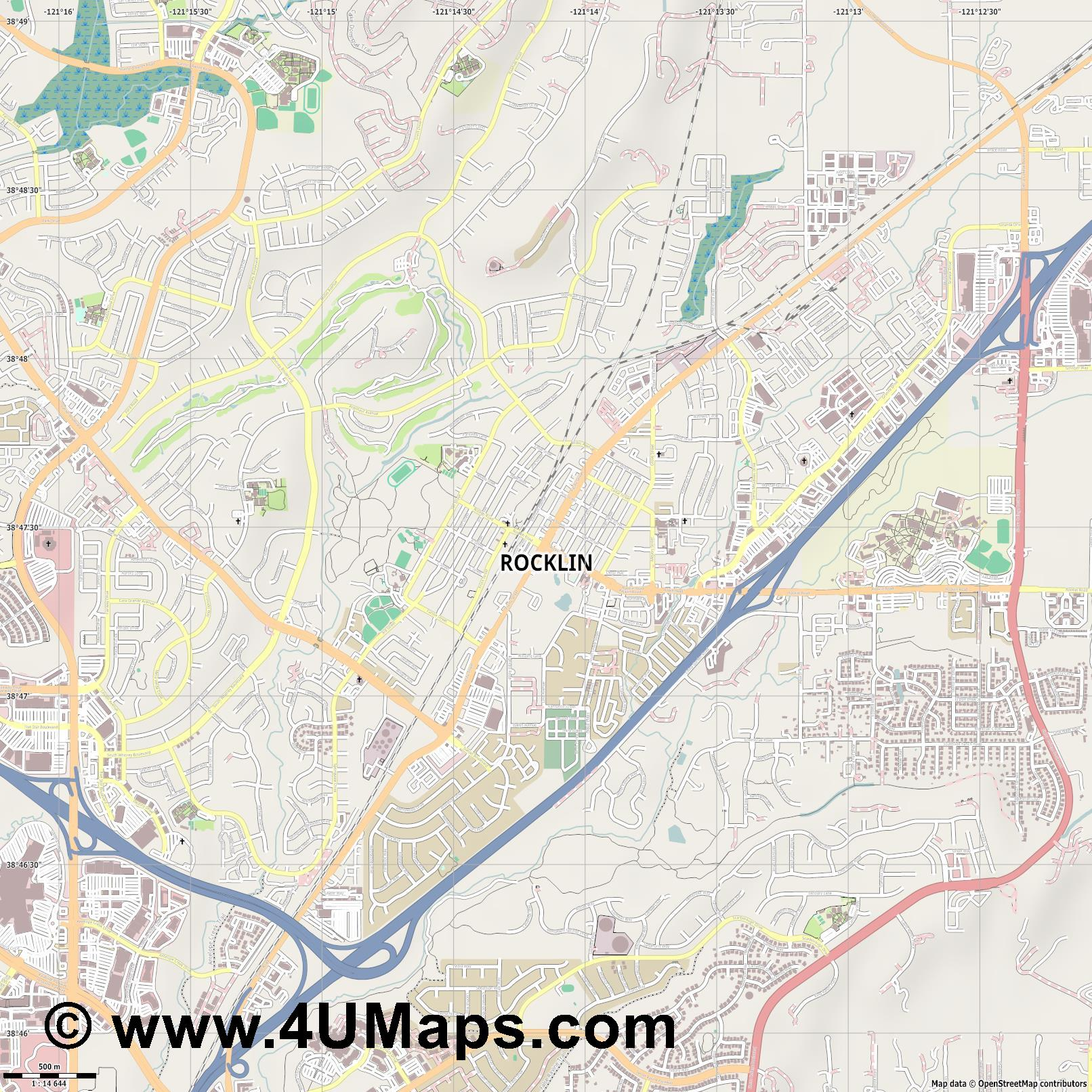 Rocklin  jpg ultra high detail preview vector city map