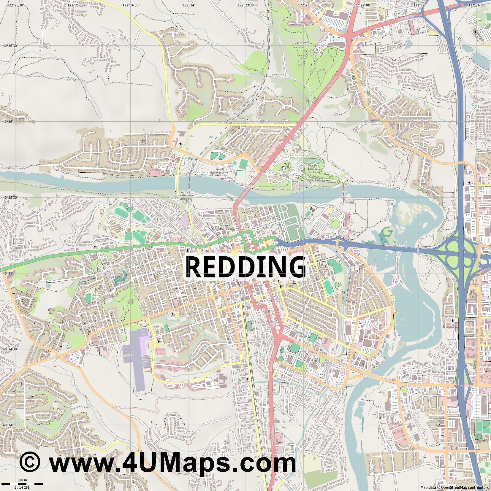 Redding  jpg ultra high detail preview vector city map