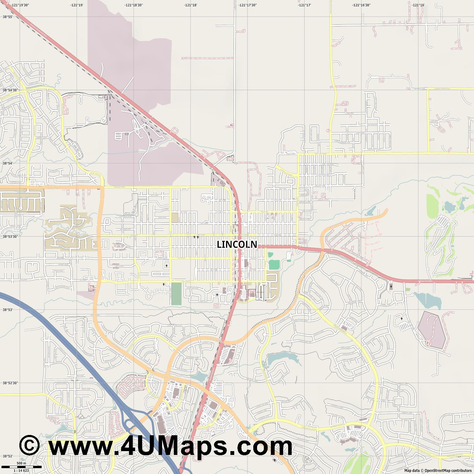 Lincoln  jpg ultra high detail preview vector city map