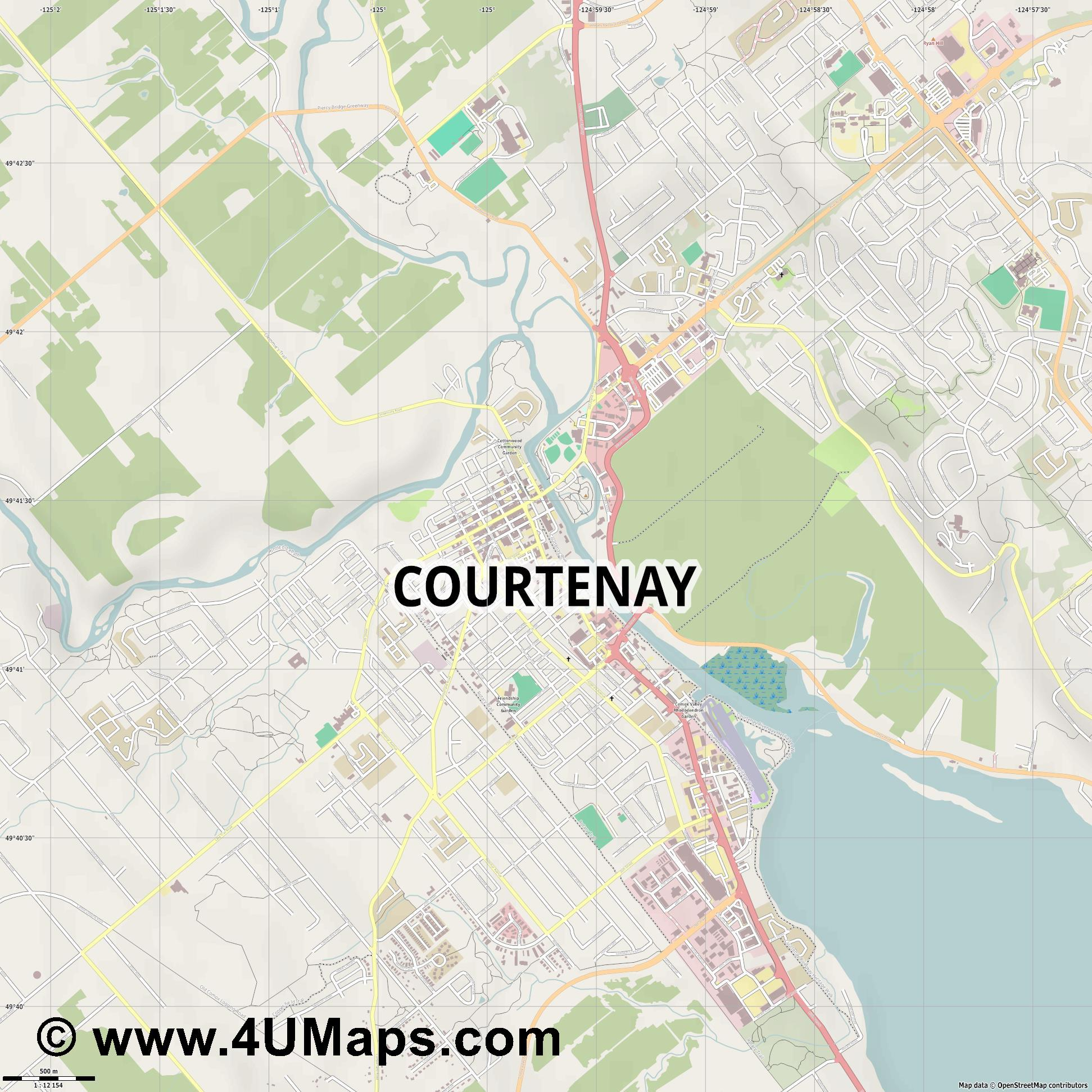 Courtenay  jpg ultra high detail preview vector city map