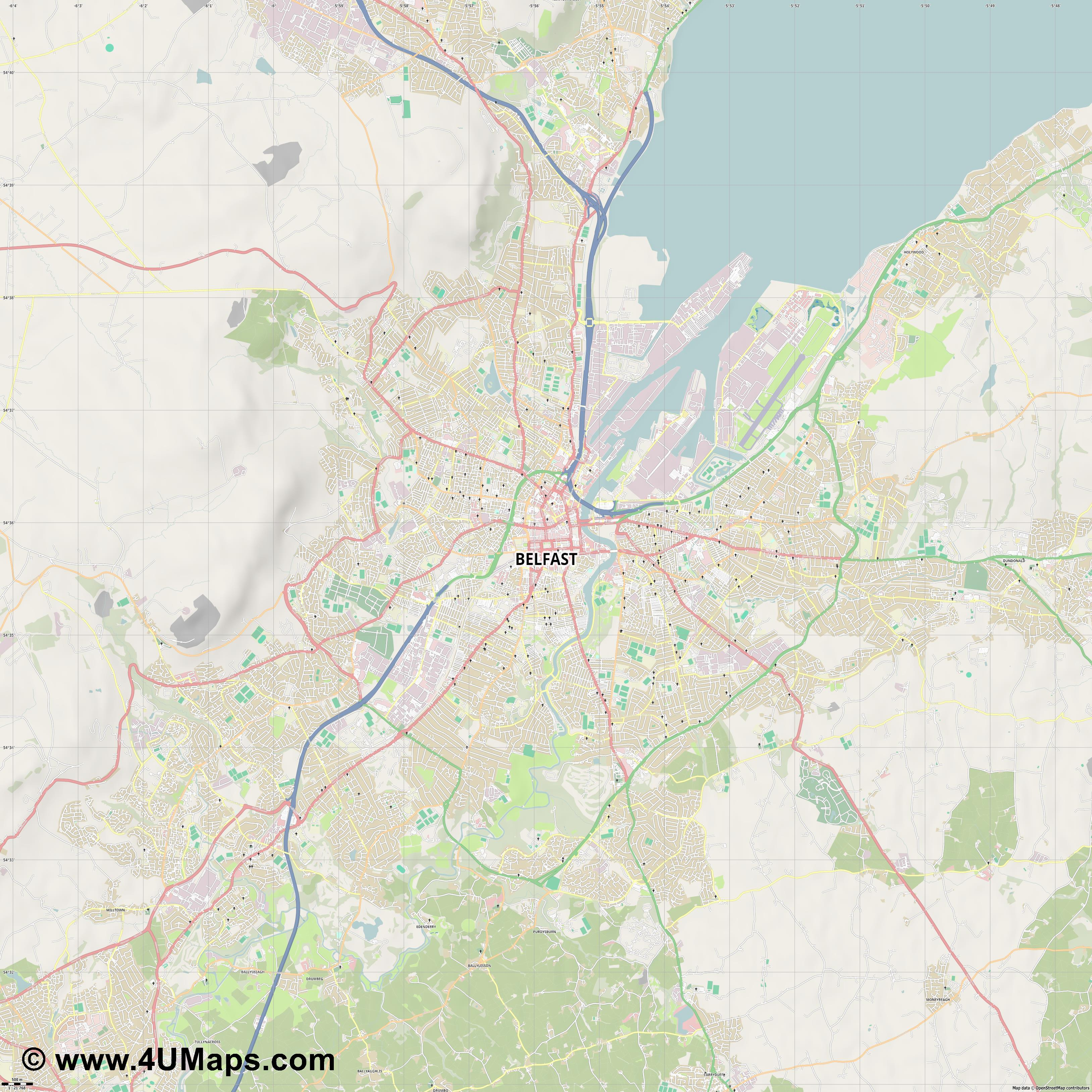 Belfast  jpg high detail, large area preview vector city map