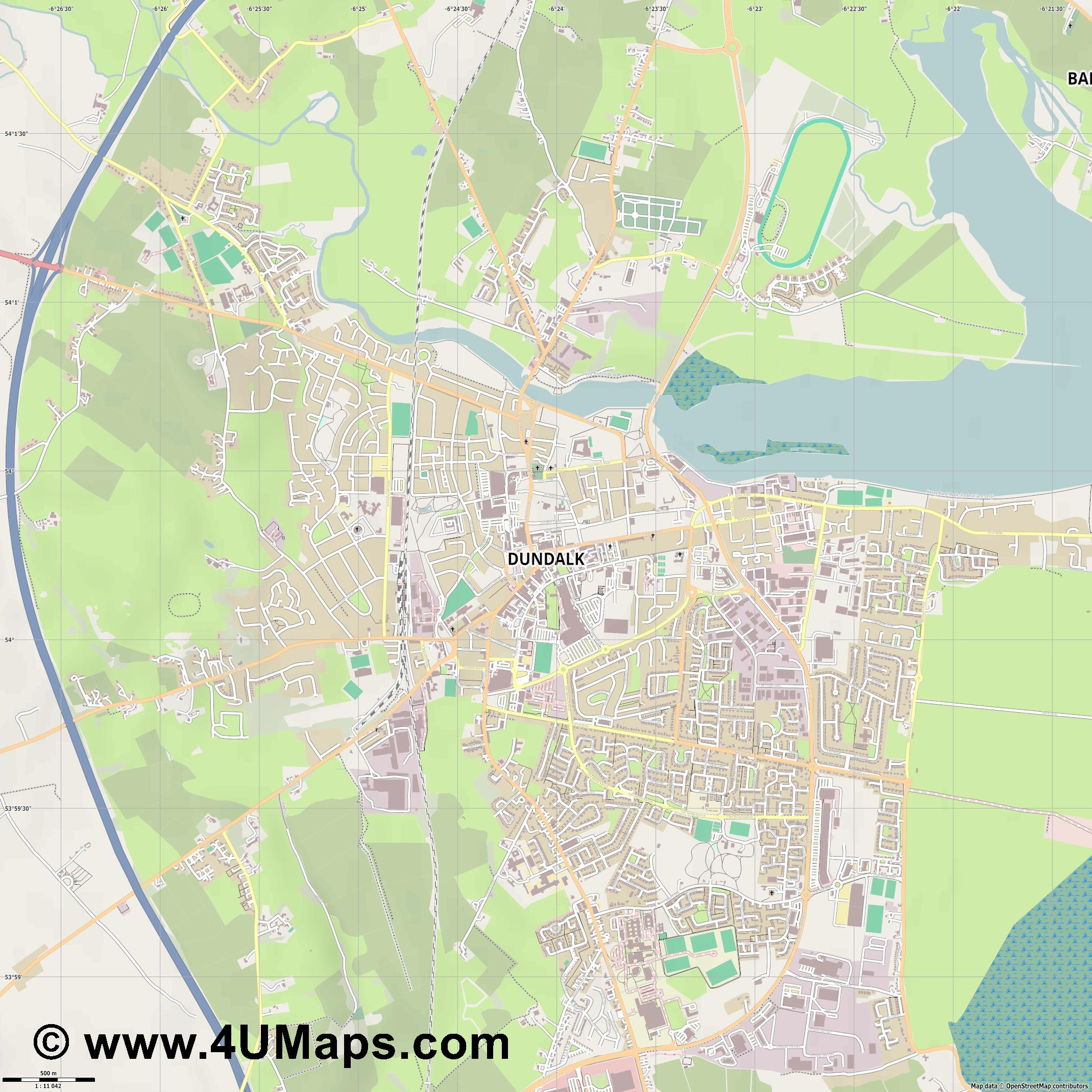 Dundalk  jpg ultra high detail preview vector city map