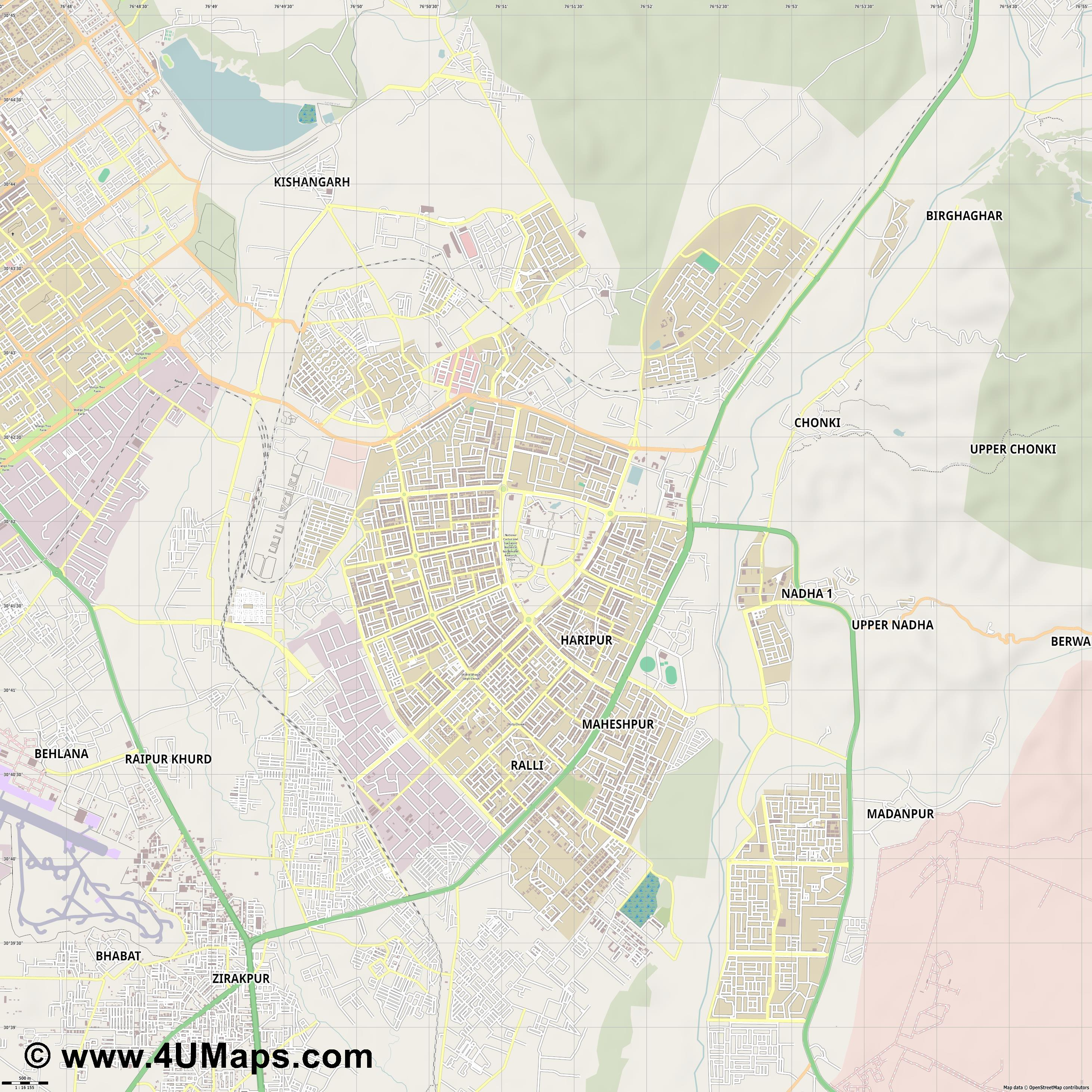 Panchkula  jpg ultra high detail preview vector city map