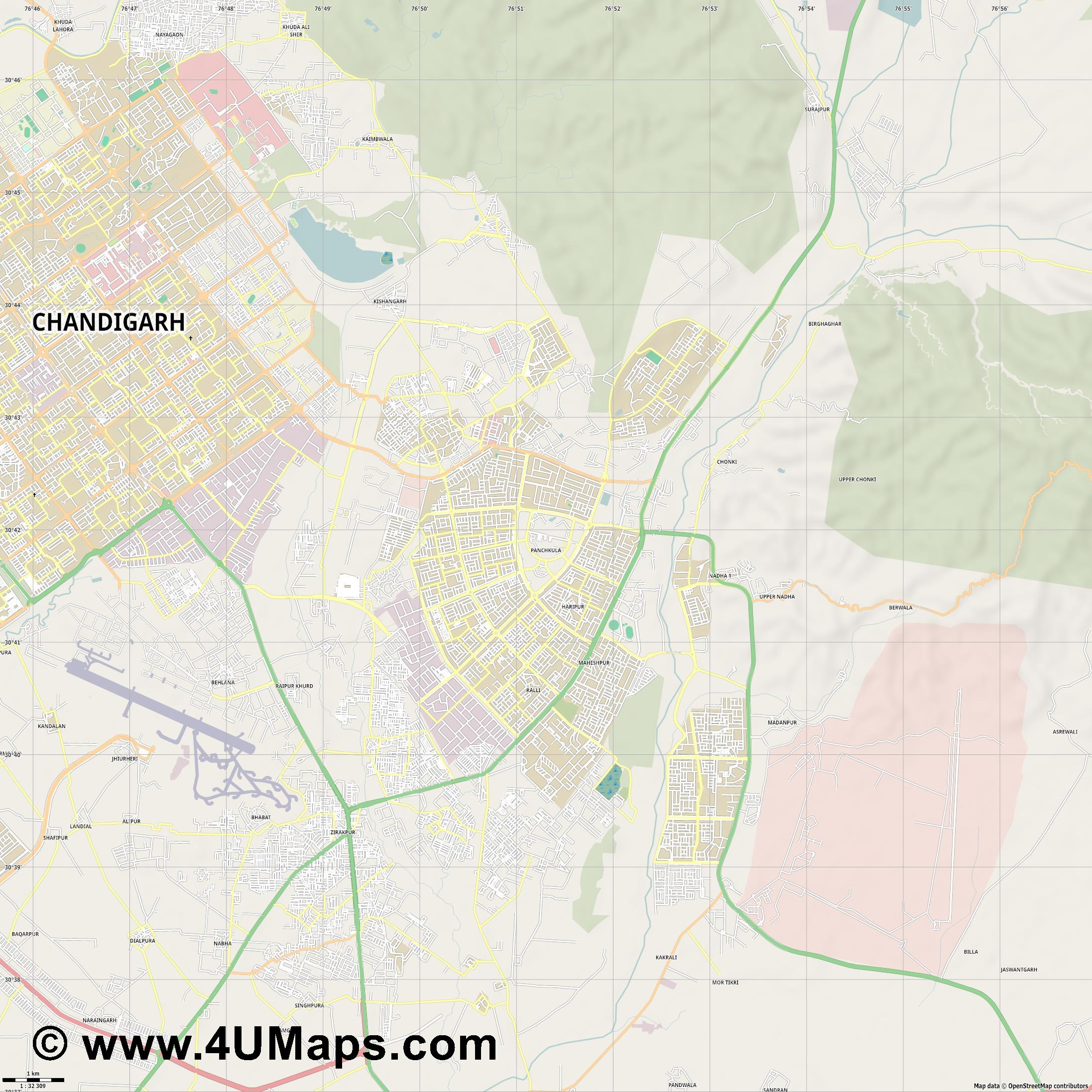 Panchkula  jpg high detail, large area preview vector city map