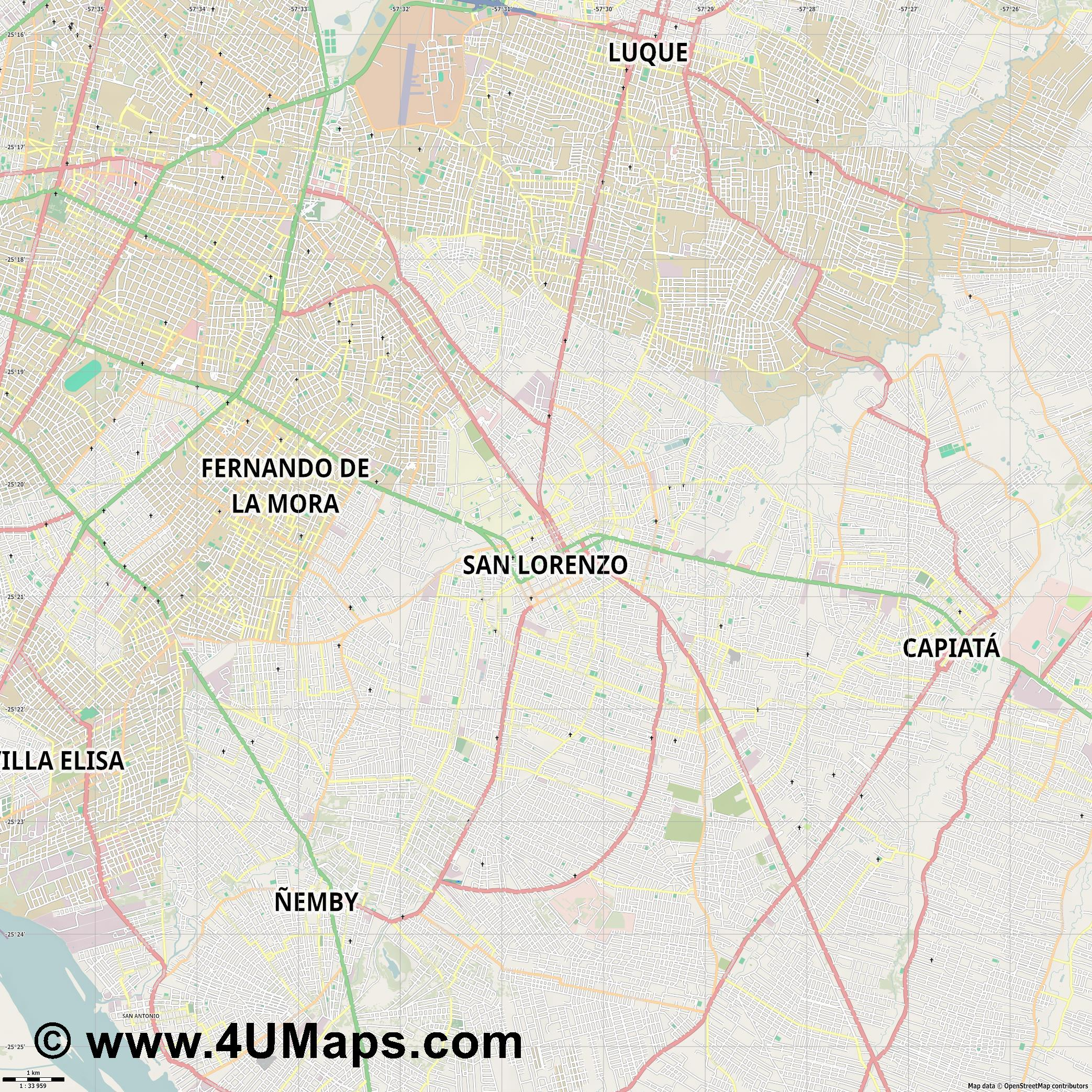 San Lorenzo  jpg high detail, large area preview vector city map