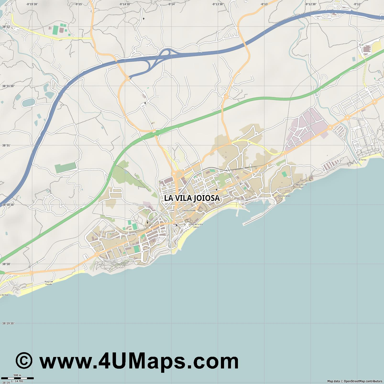 la Vila Joiosa Villajoyosa  jpg ultra high detail preview vector city map