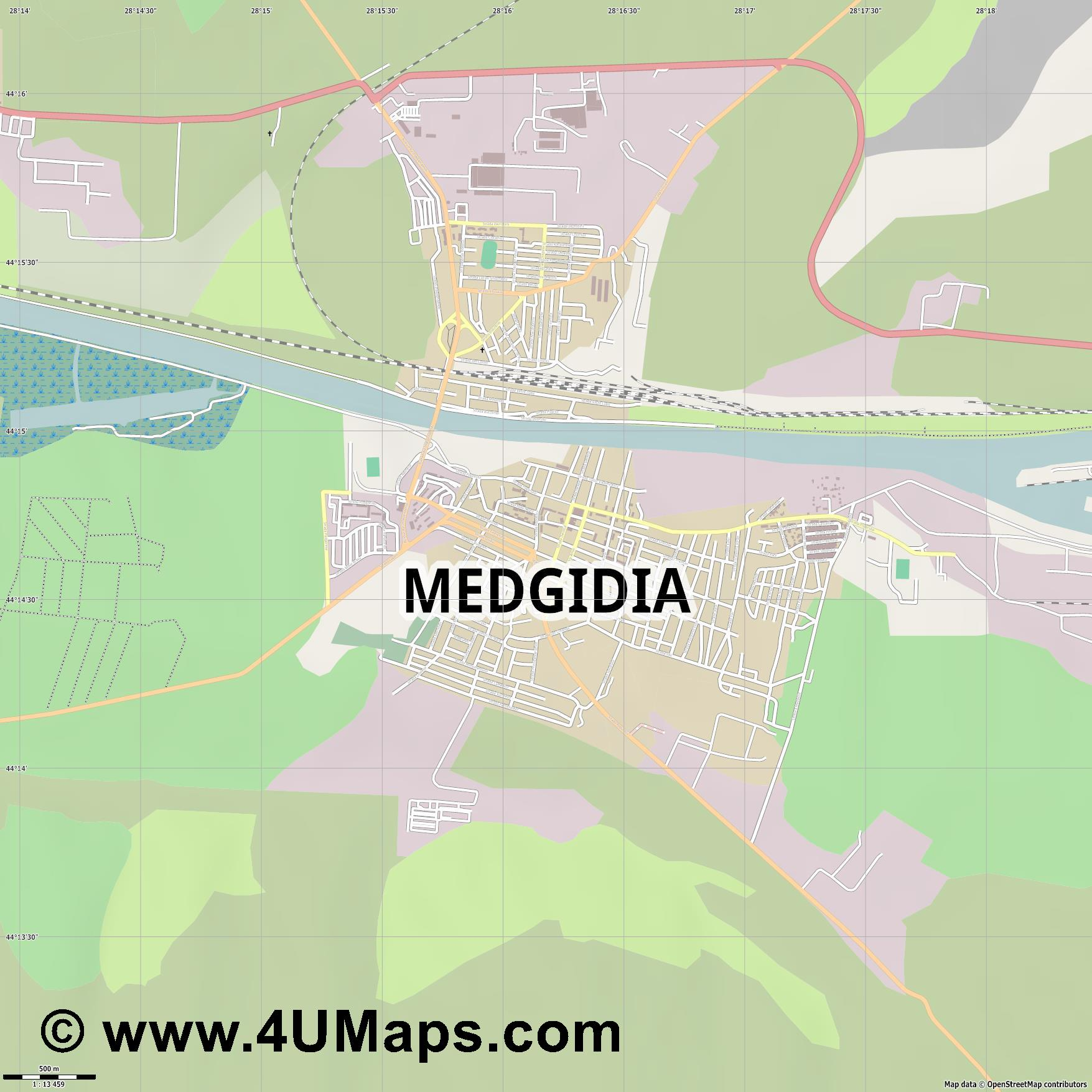 Medgidia  jpg ultra high detail preview vector city map