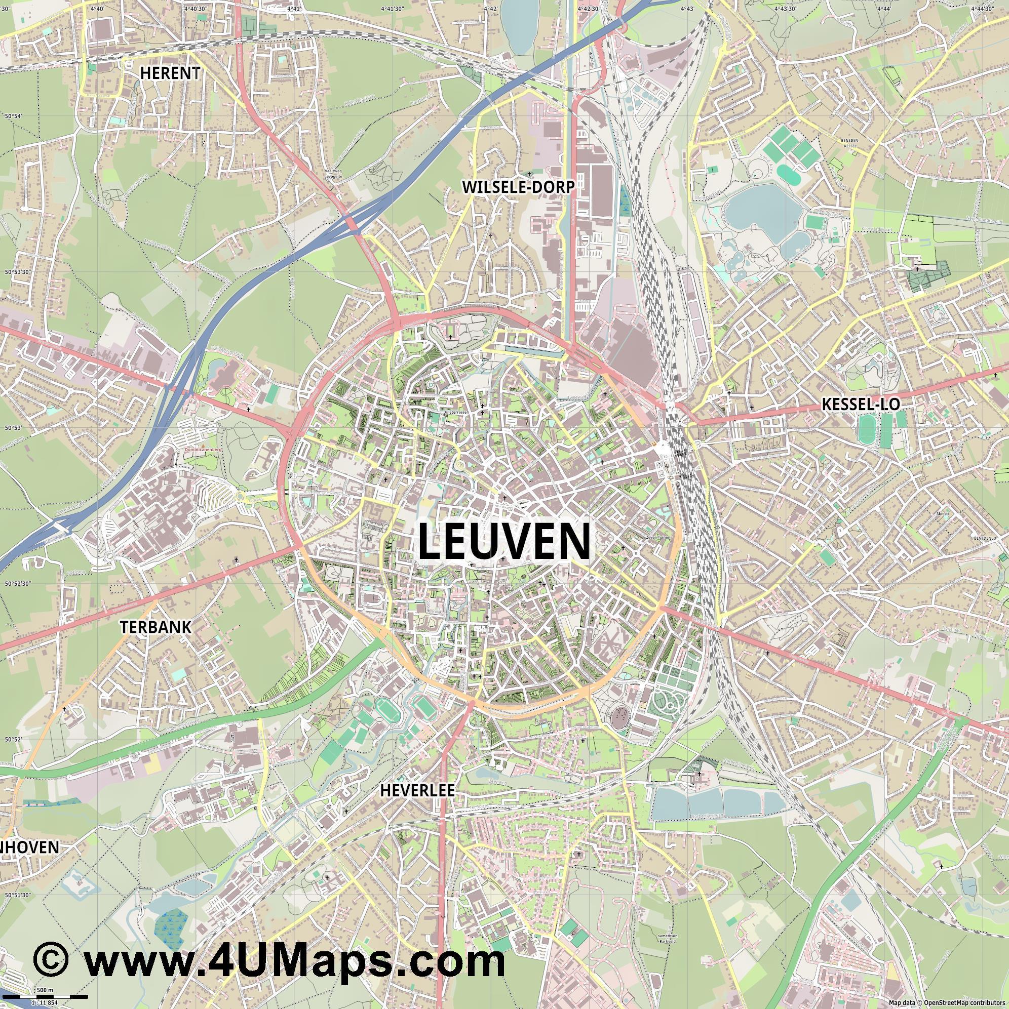 PDF Svg Scalable Vector City Map Leuven