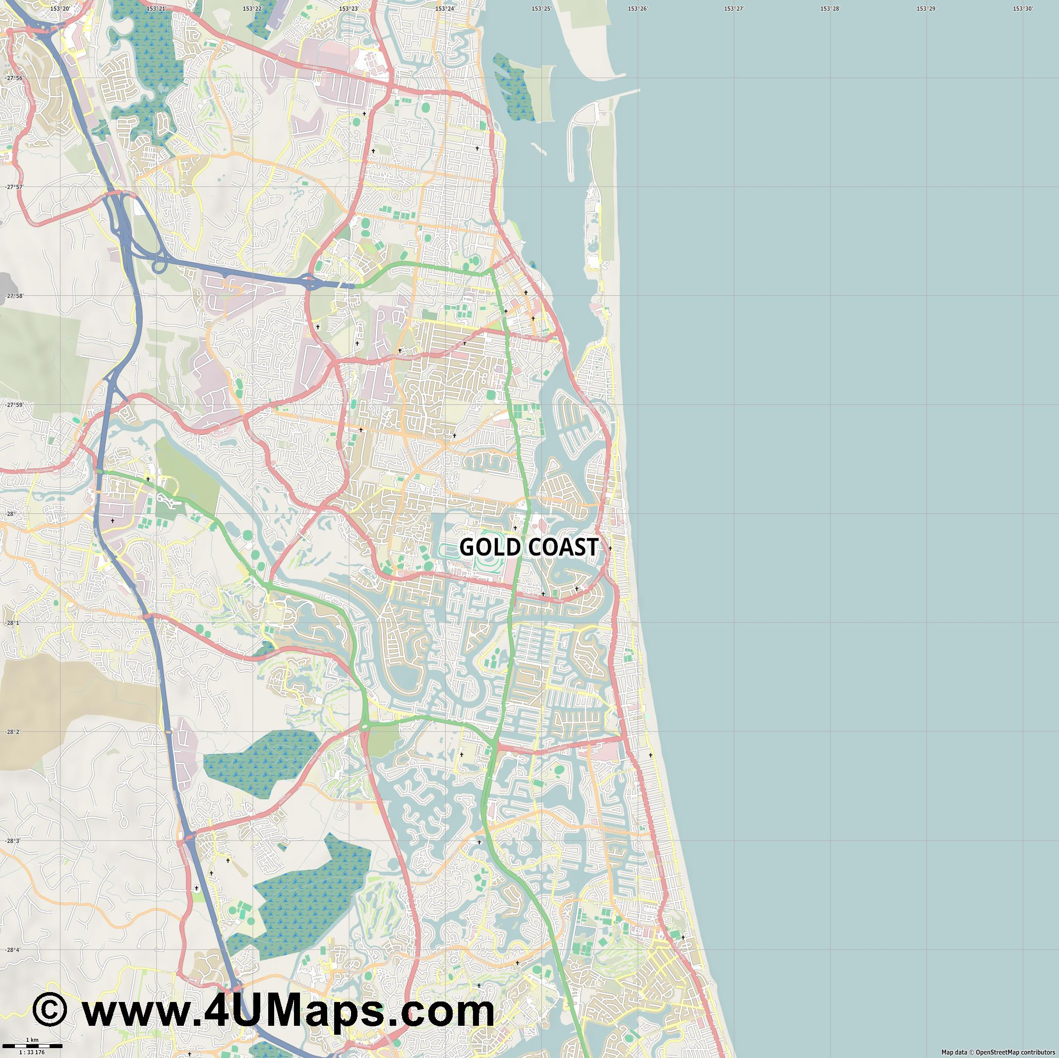 Gold Coast  jpg high detail, large area preview vector city map