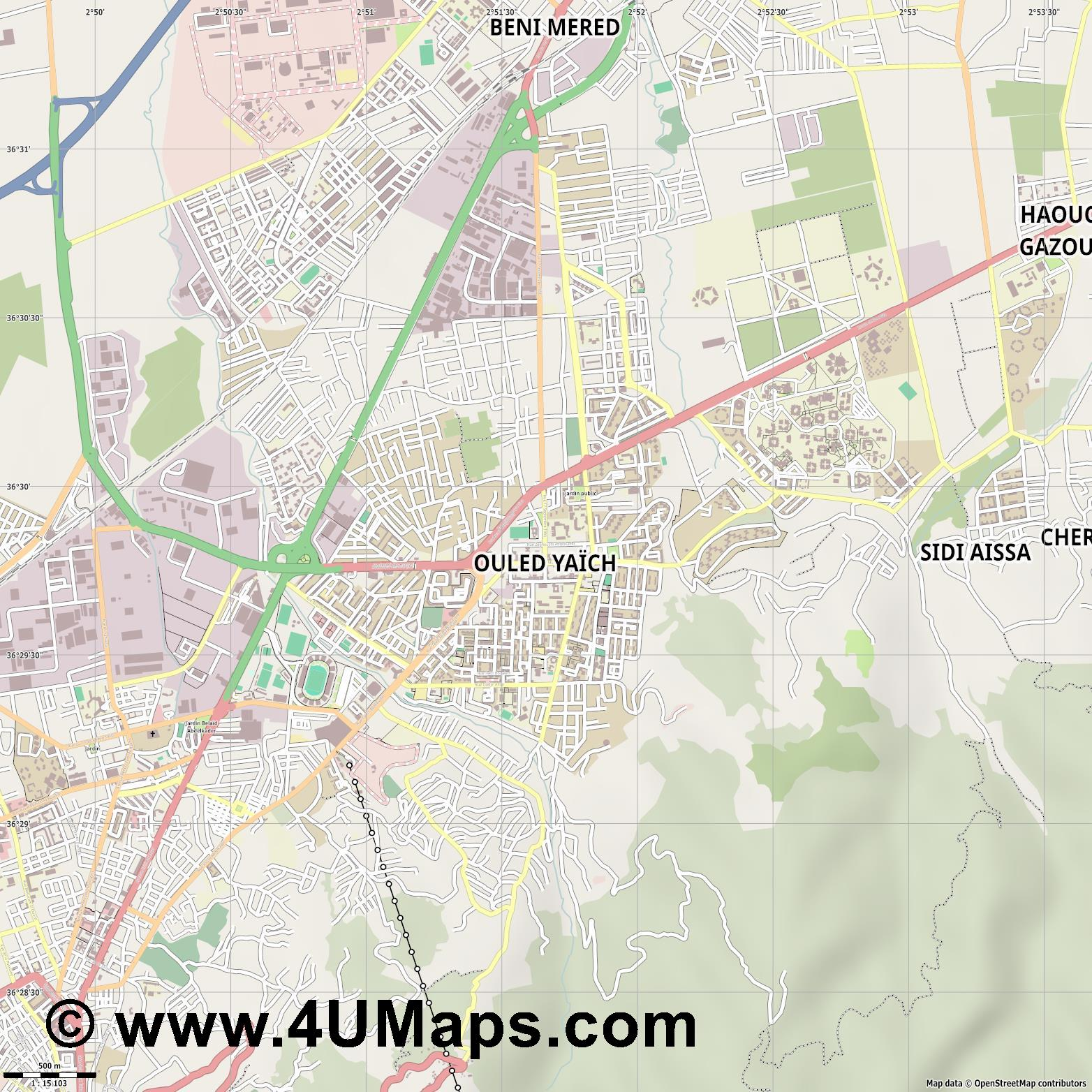 Ouled Yaïch Ouled Yaich  jpg ultra high detail preview vector city map