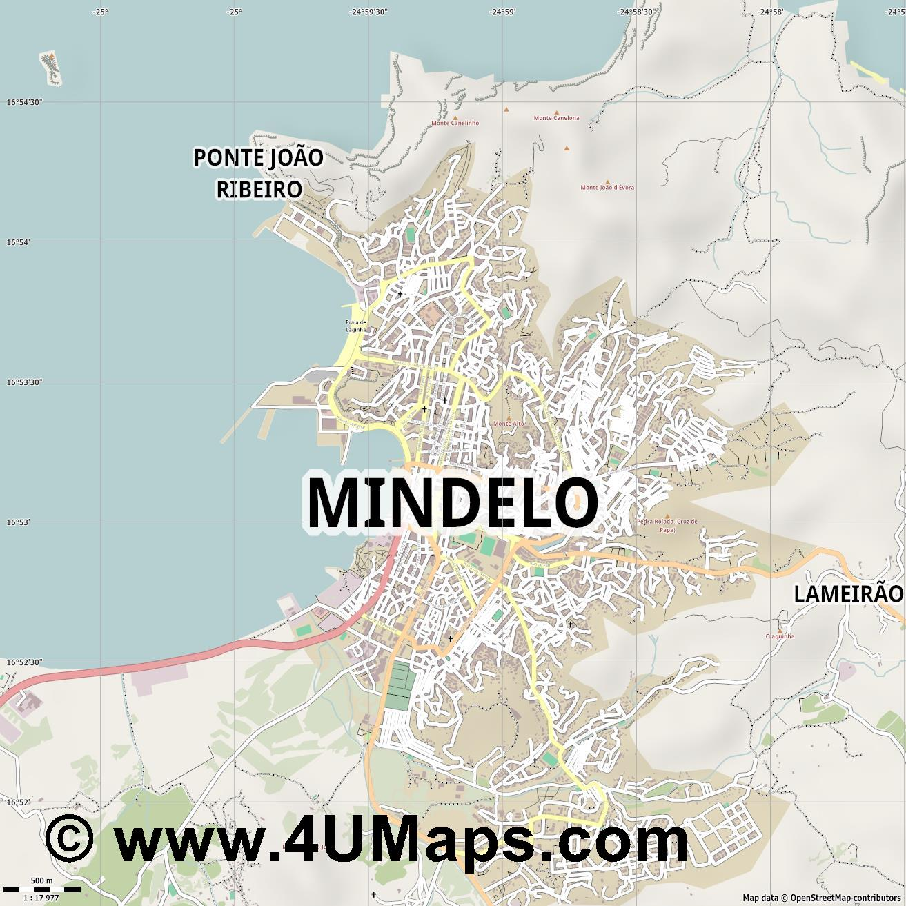 Mindelo  jpg ultra high detail preview vector city map