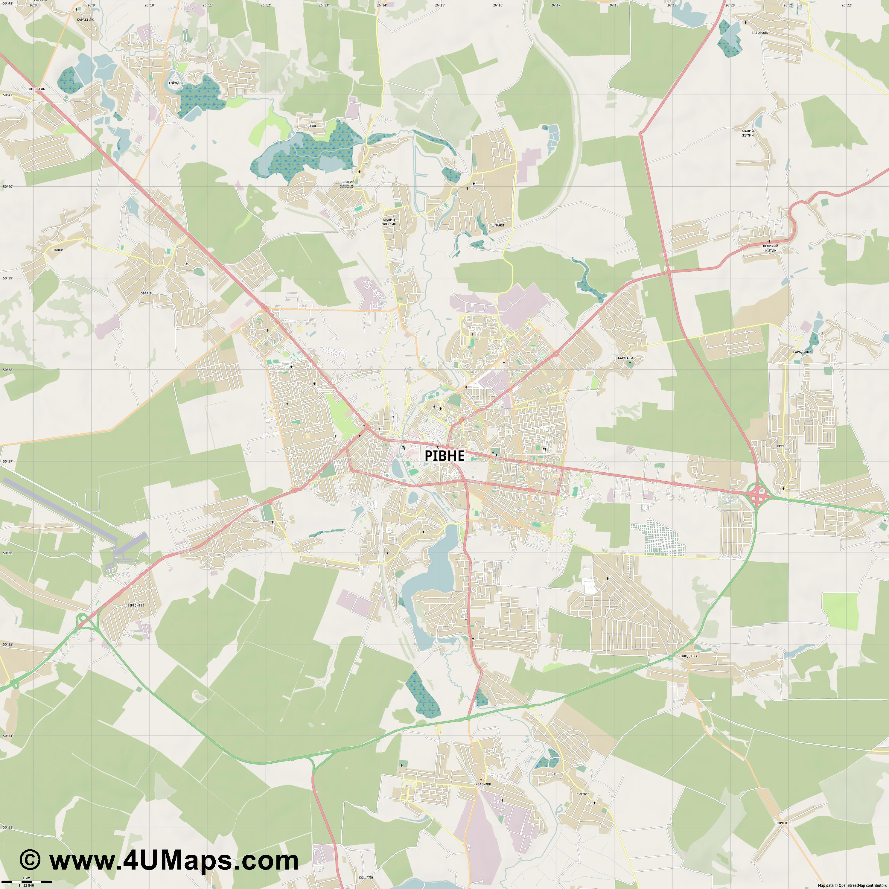 Рівне Rivne Riwne  jpg high detail, large area preview vector city map
