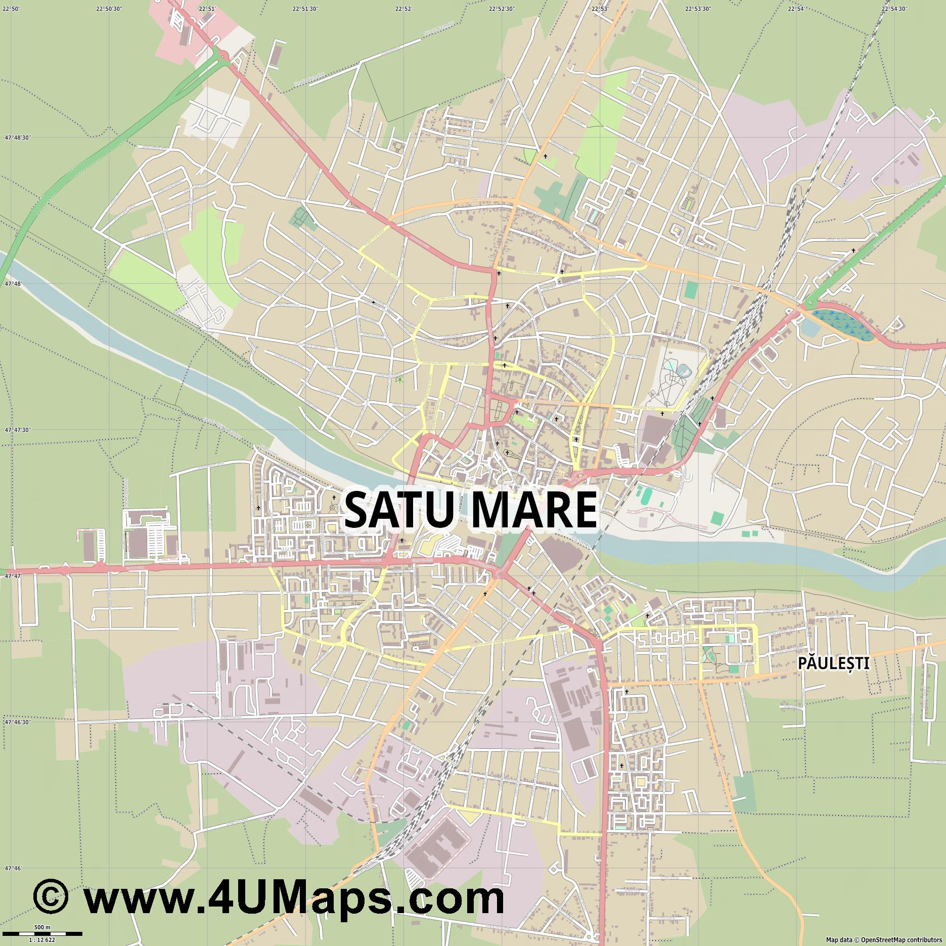 Satu Mare Sathmar  jpg ultra high detail preview vector city map