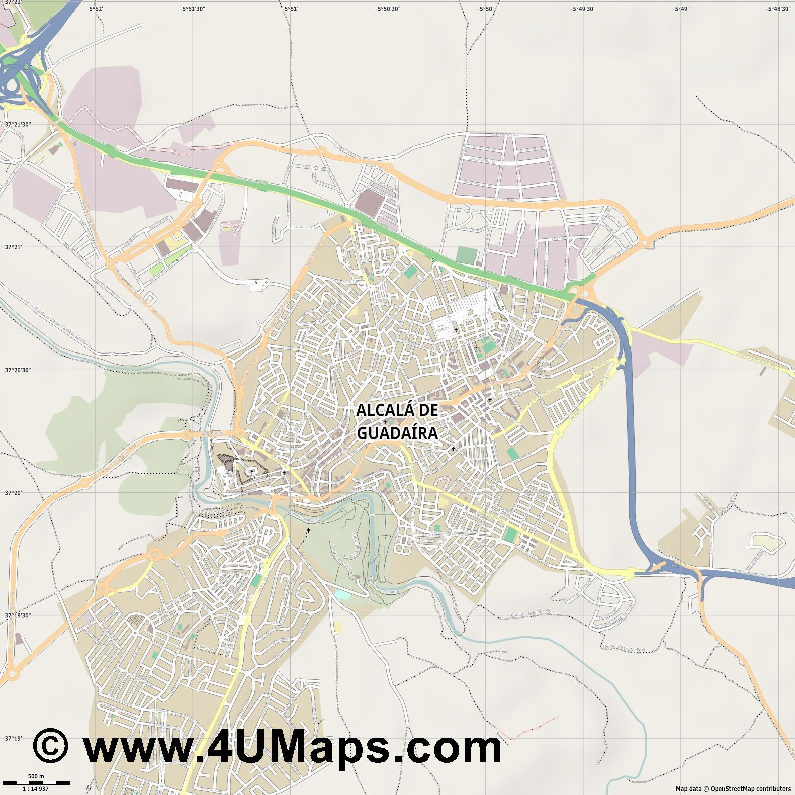Alcalá de Guadaíra  jpg ultra high detail preview vector city map