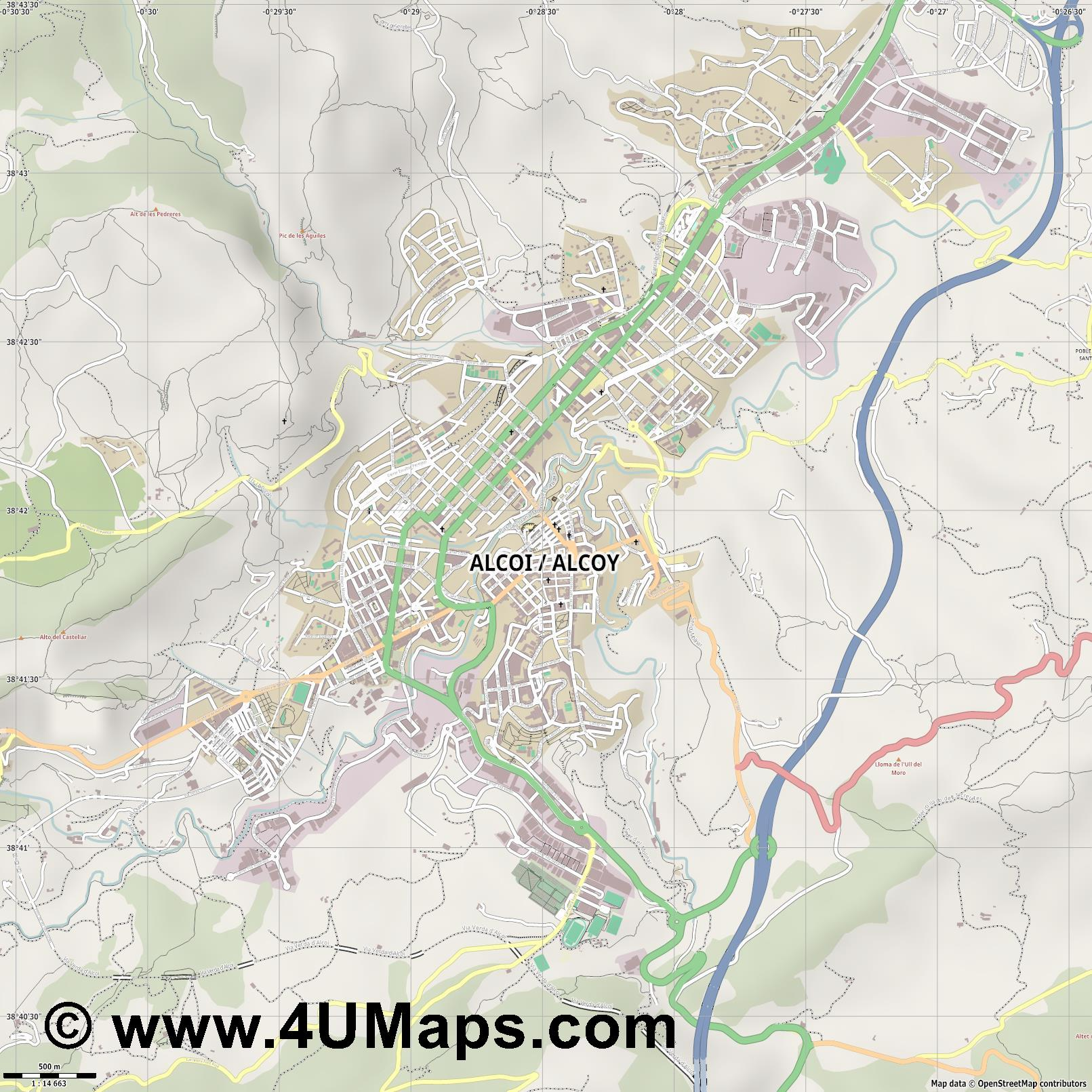 Alcoi Alcoy  jpg ultra high detail preview vector city map