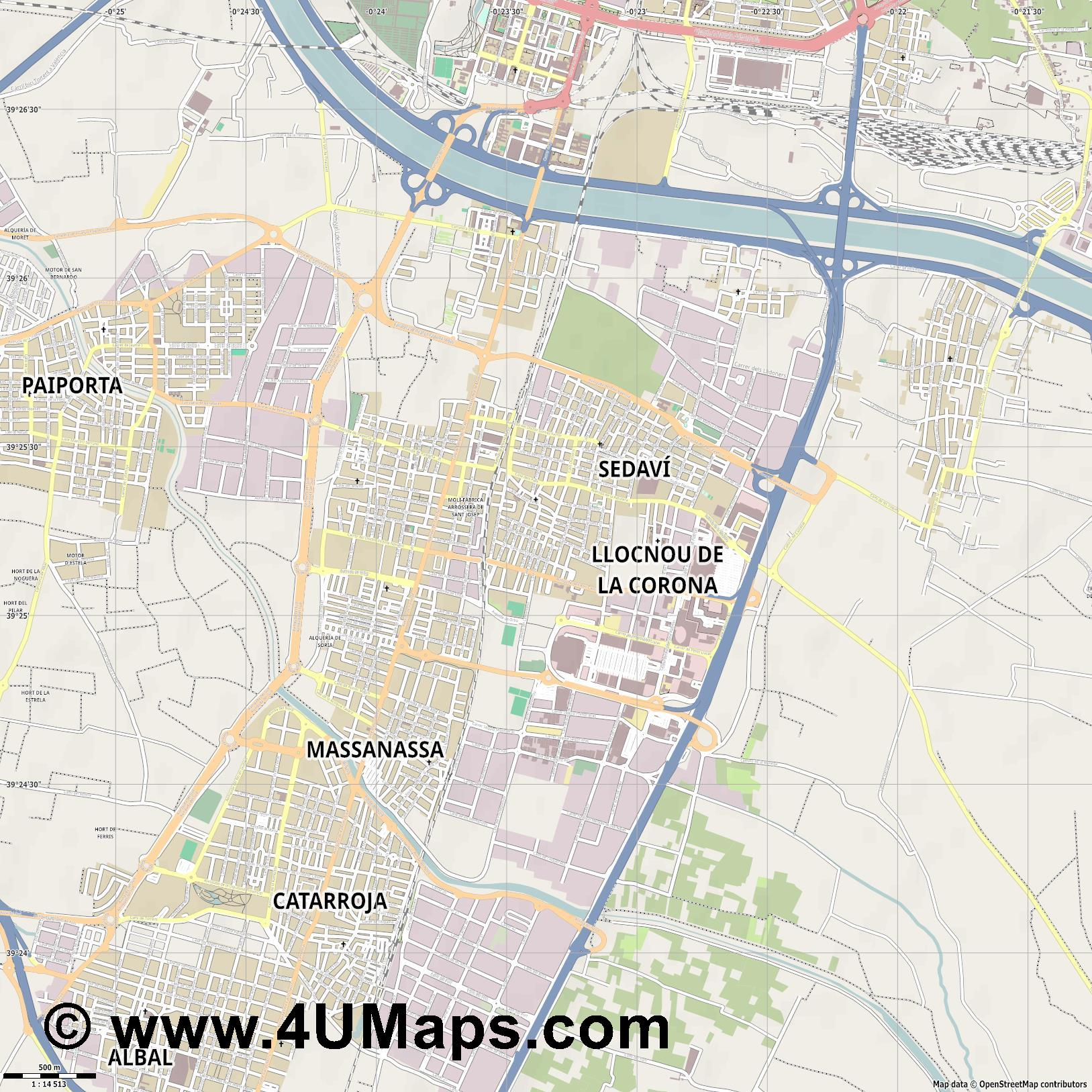 Alfafar  jpg ultra high detail preview vector city map