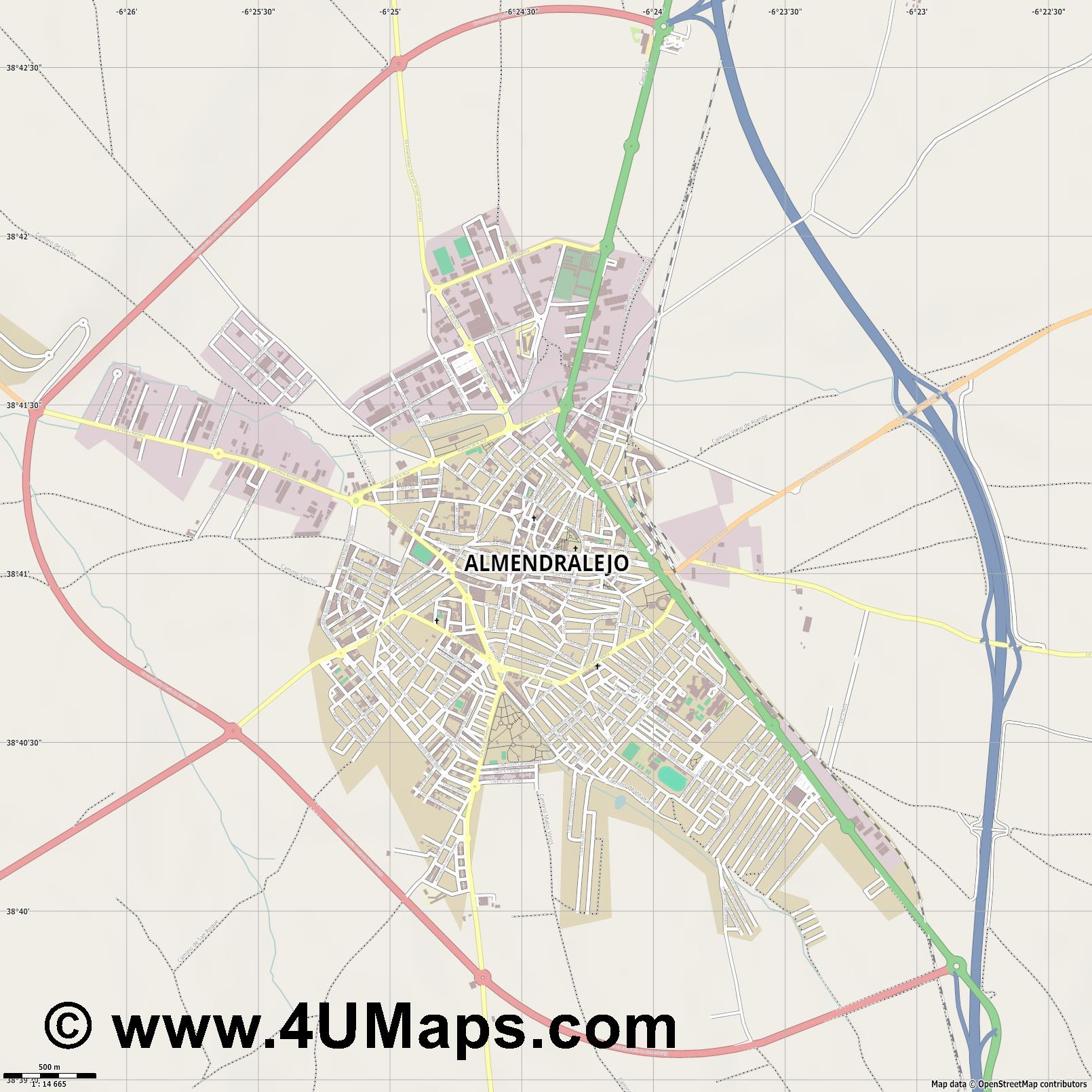 Almendralejo  jpg ultra high detail preview vector city map