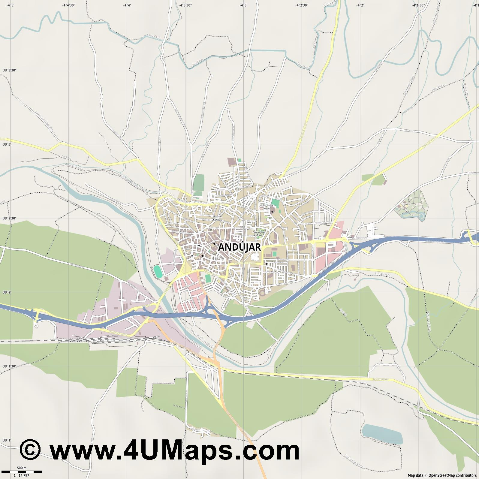 Andújar  jpg ultra high detail preview vector city map