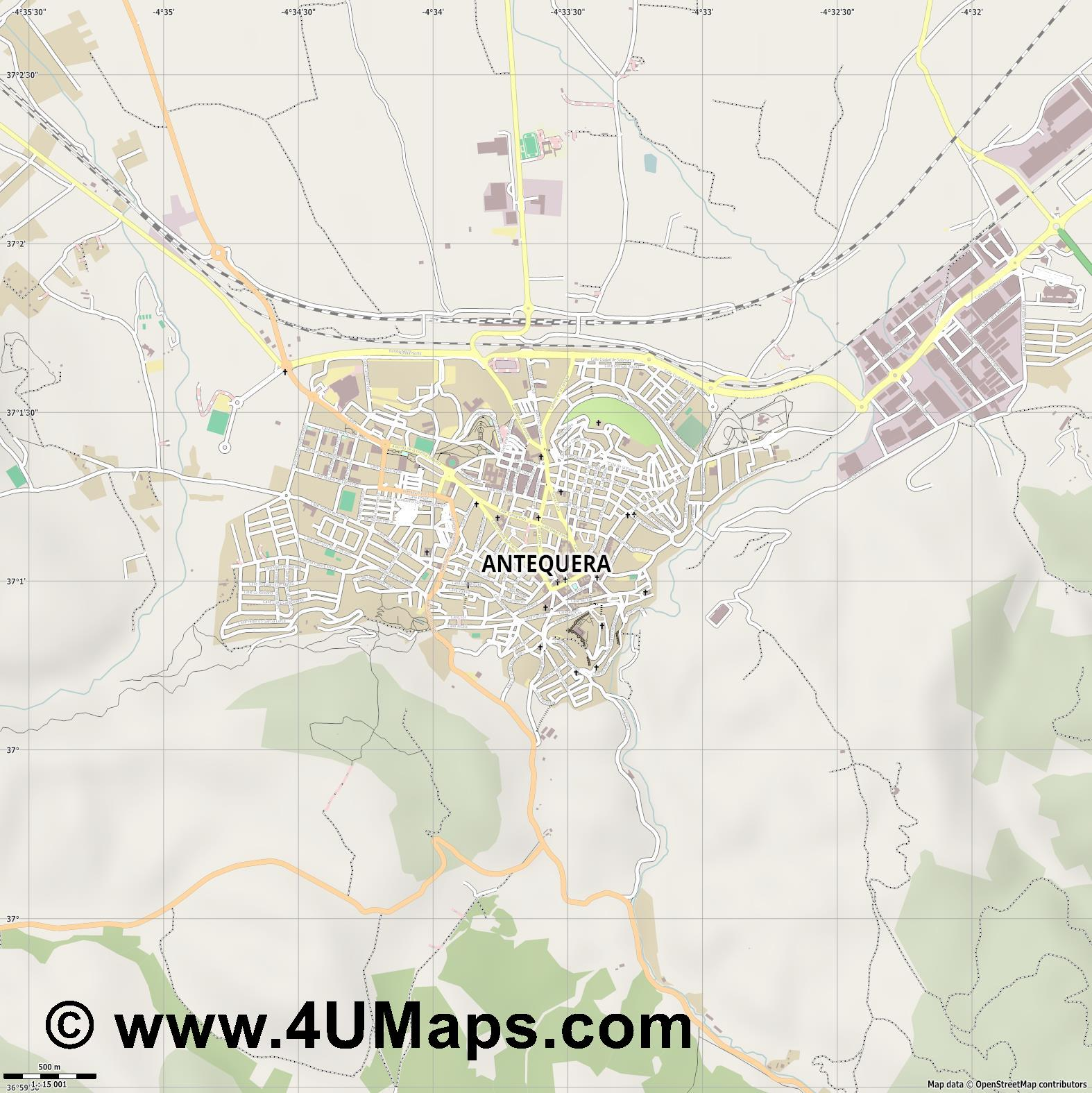 Antequera  jpg ultra high detail preview vector city map