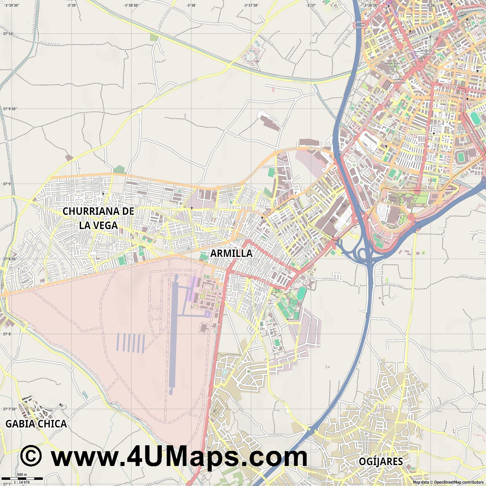 Armilla  jpg ultra high detail preview vector city map