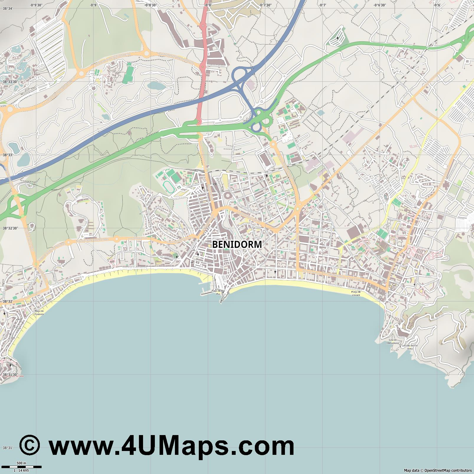 Benidorm  jpg ultra high detail preview vector city map