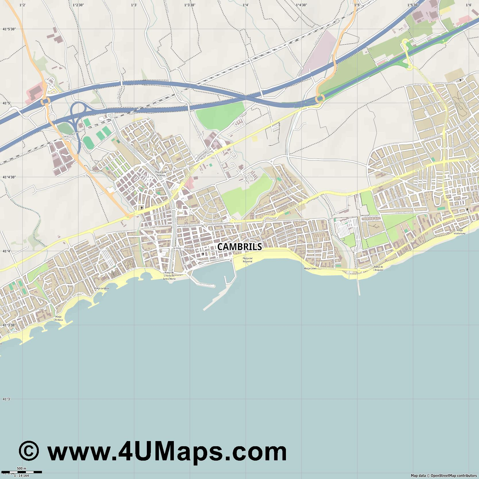 Cambrils  jpg ultra high detail preview vector city map
