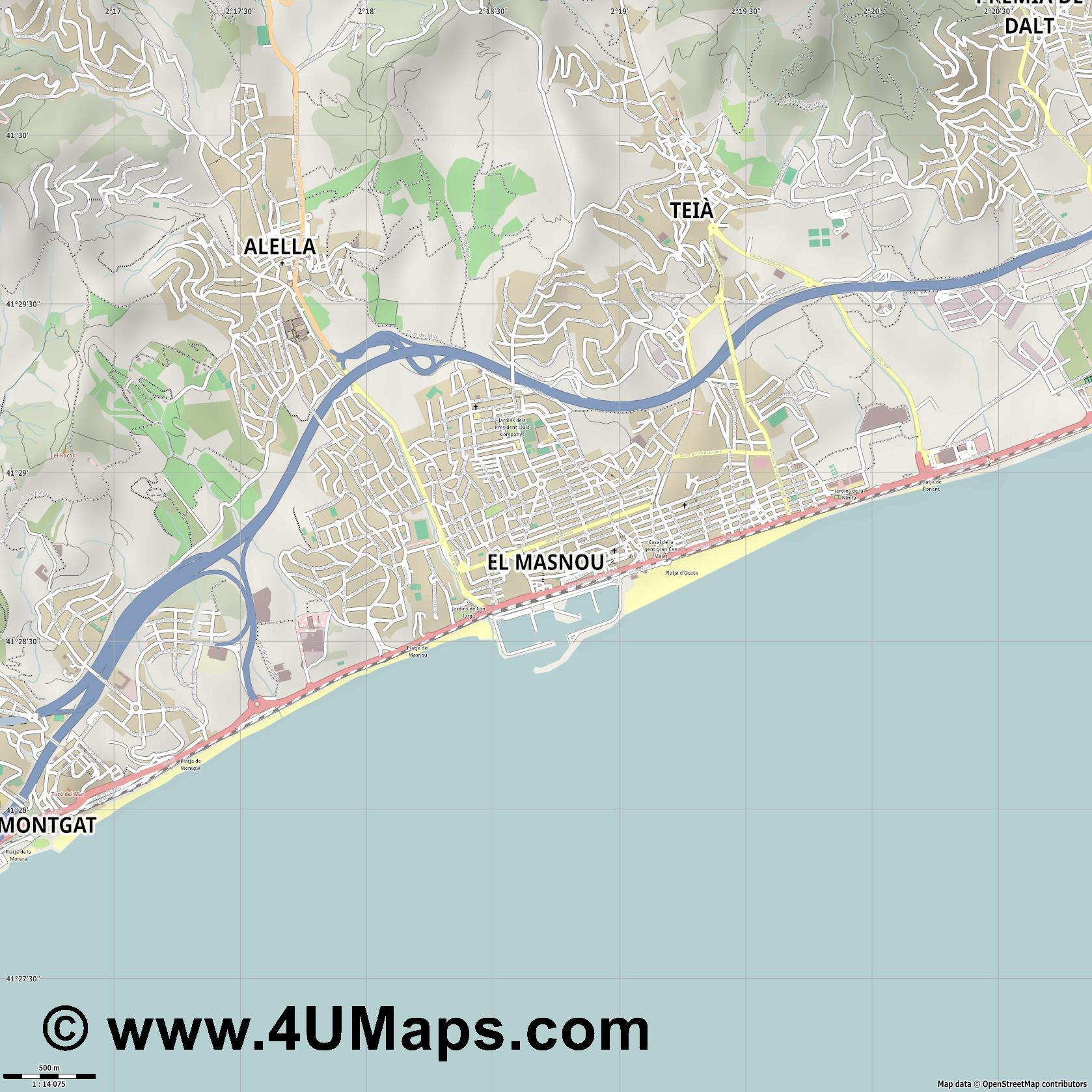 el Masnou  jpg ultra high detail preview vector city map